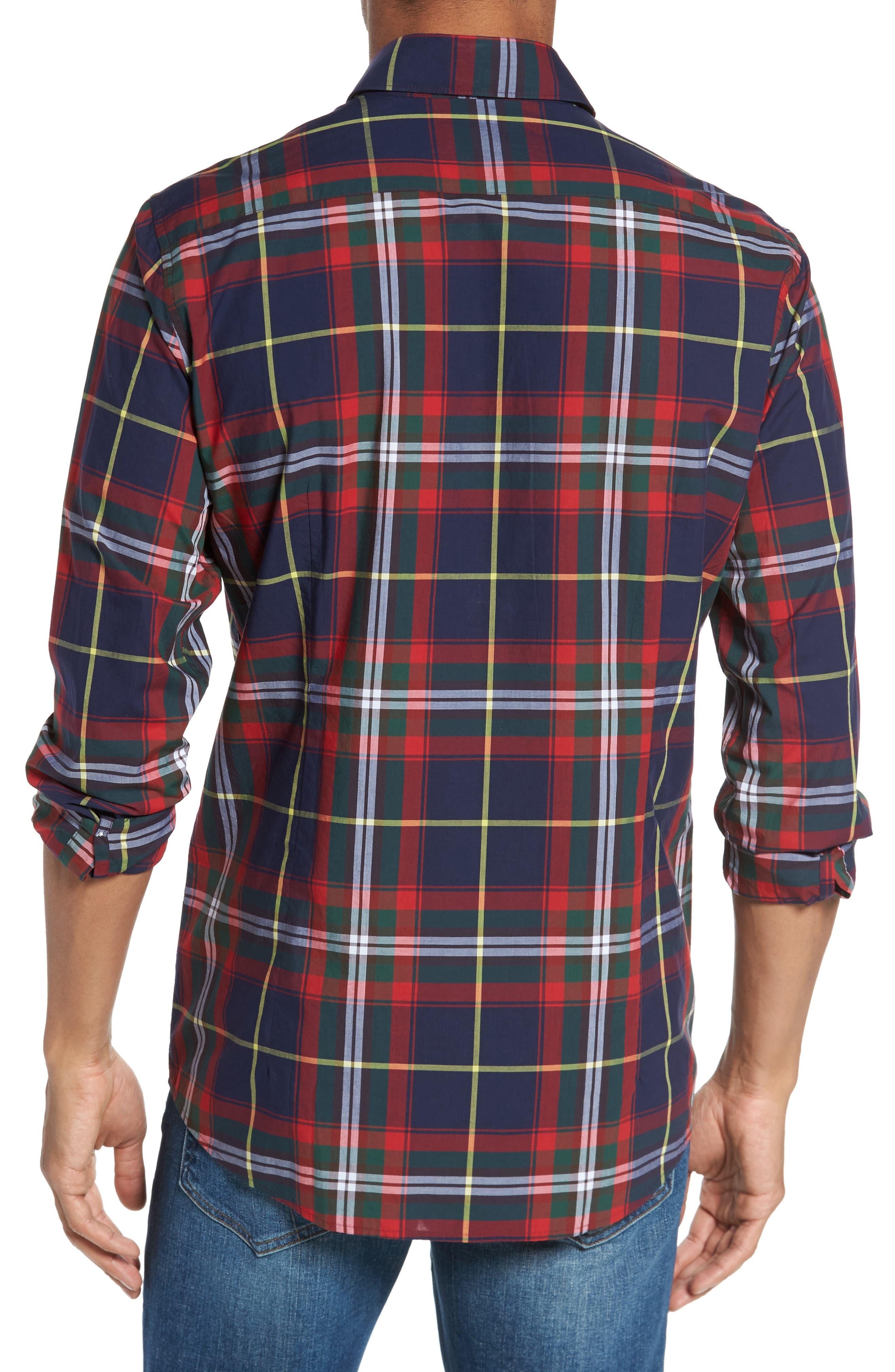 Oscar Trim Fit Plaid Sport Shirt,                             Alternate thumbnail 2, color,                             Navy