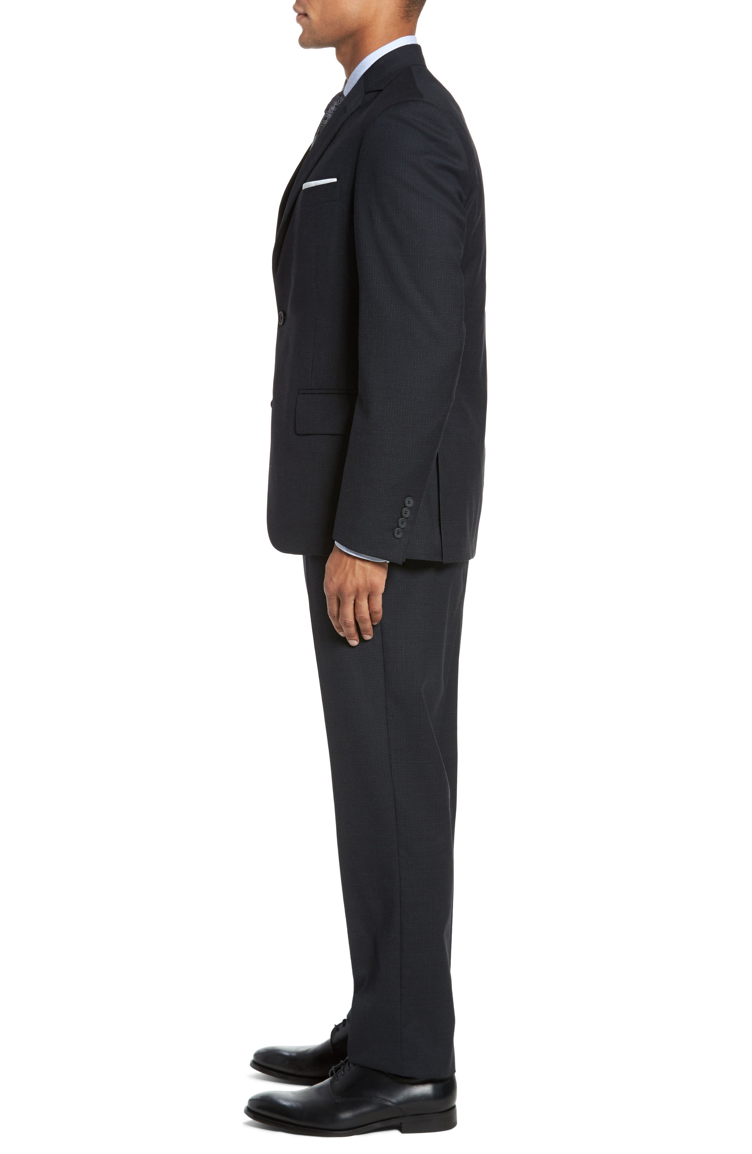 Classic Fit Check Wool Suit,                             Alternate thumbnail 3, color,                             Charcoal