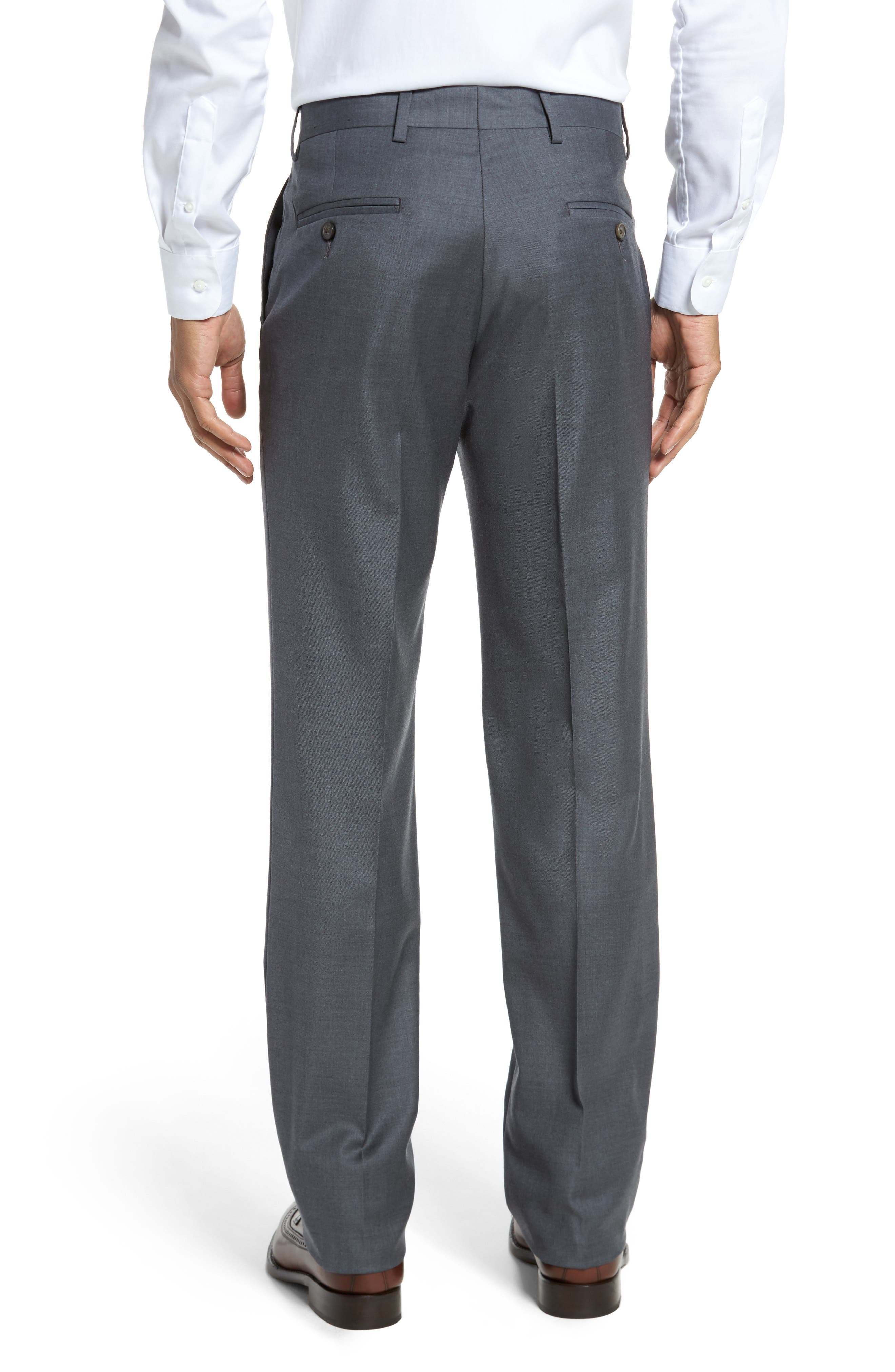 Alternate Image 2  - Berle Flat Front Stretch Solid Wool Trousers