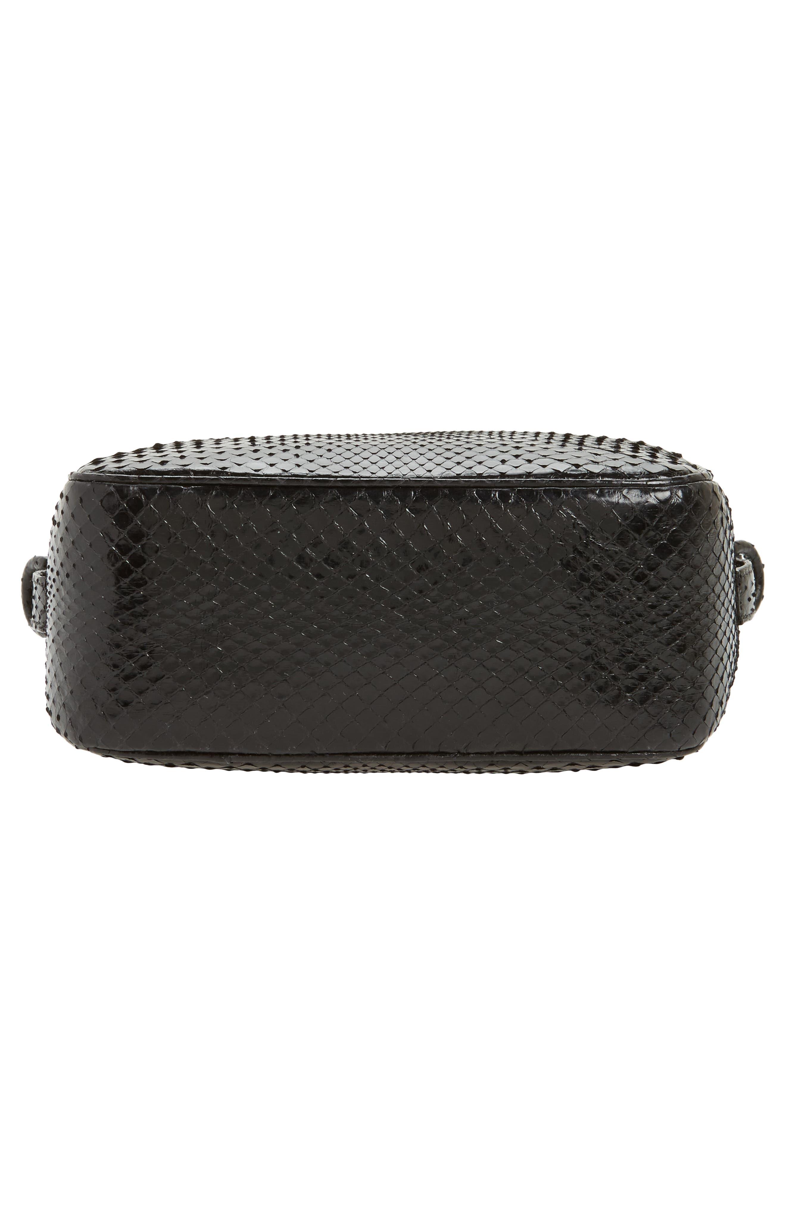 Genuine Python Shoulder Bag,                             Alternate thumbnail 6, color,                             Black