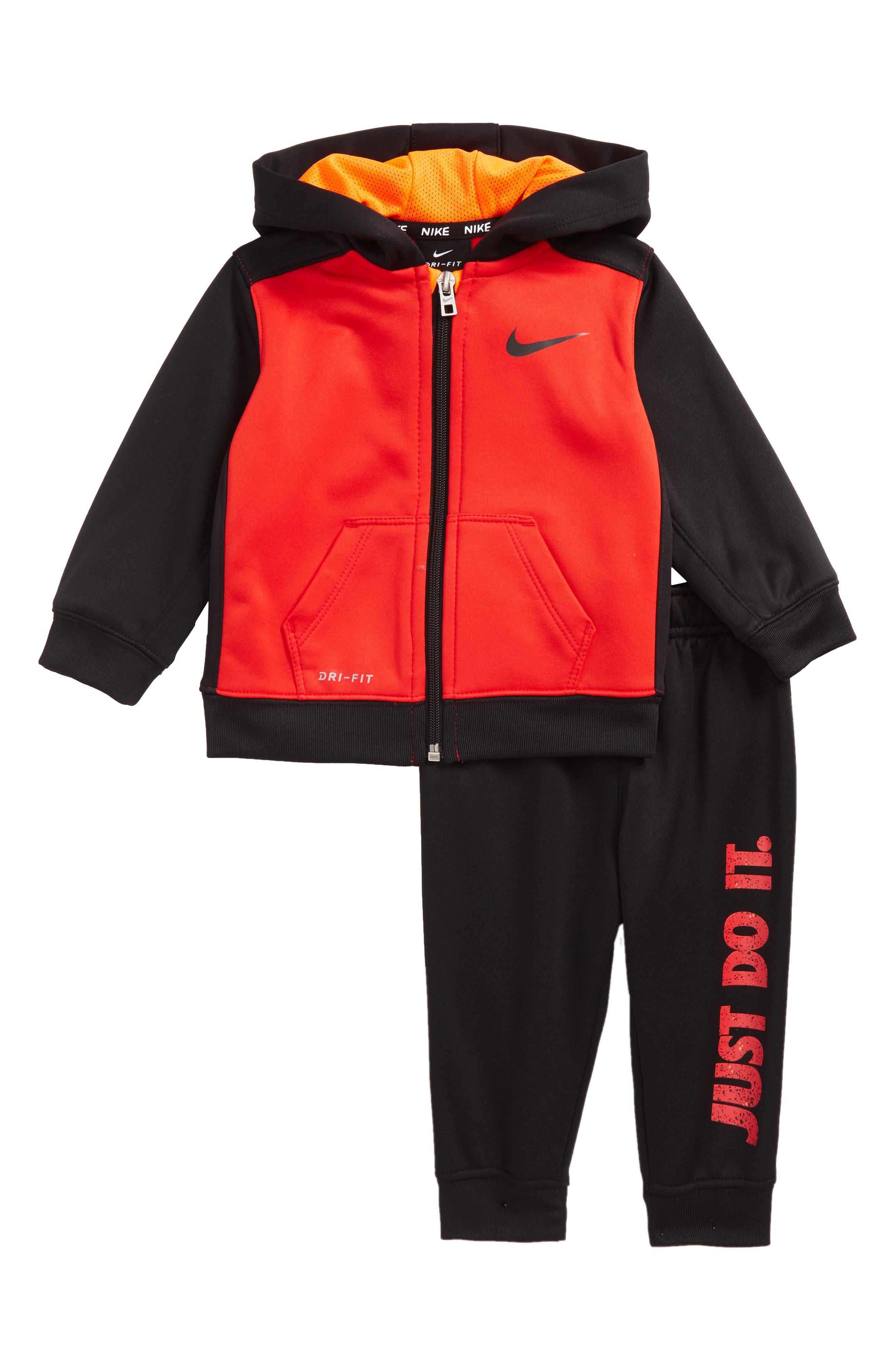 Therma-FIT Hoodie & Pants Set,                         Main,                         color, Black/ University Red