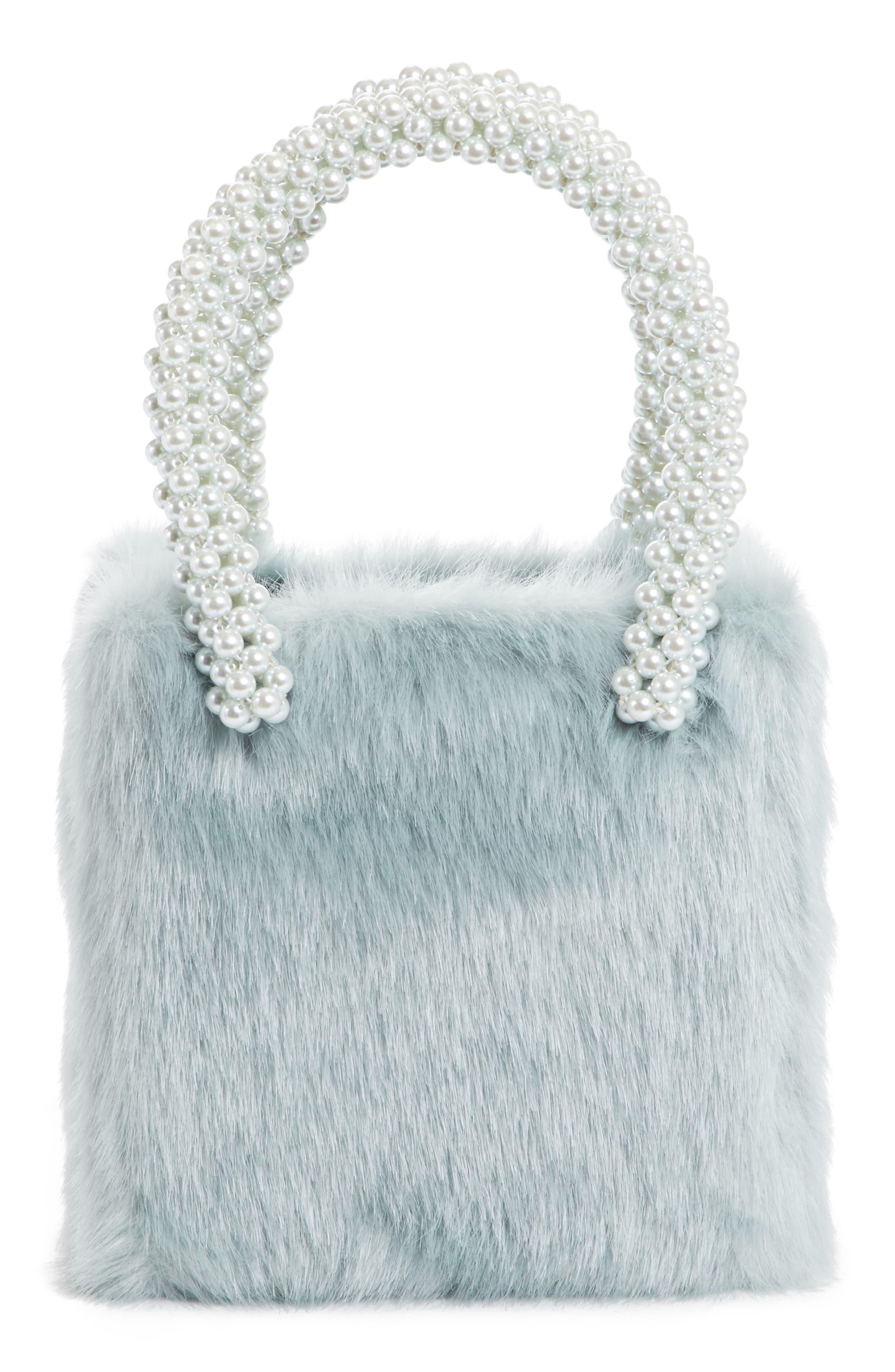 Shrimps Una Check Faux Fur Bag with Imitation Pearl Handles