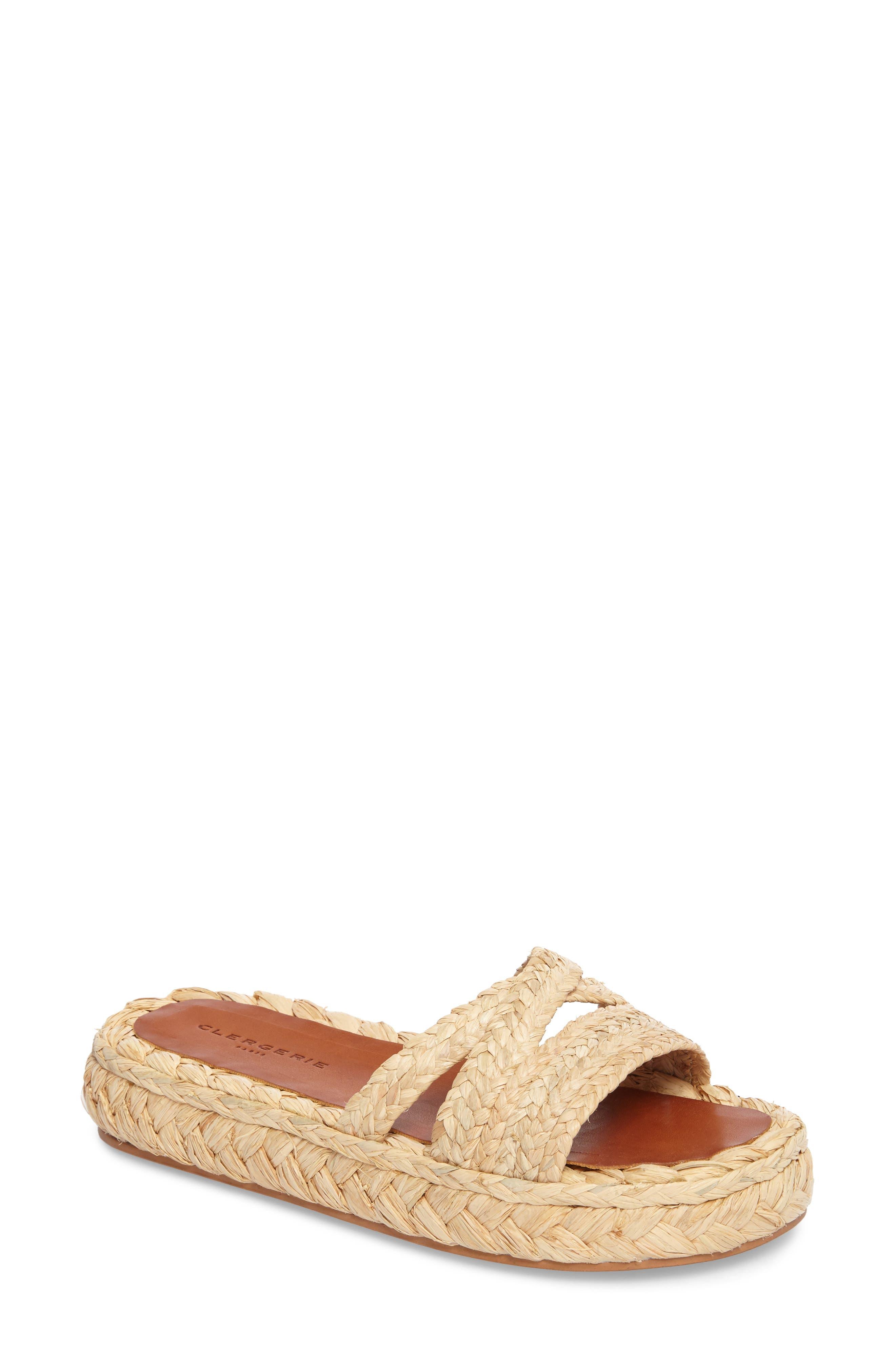Idalie Woven Slide Sandal,                             Main thumbnail 1, color,                             Tan