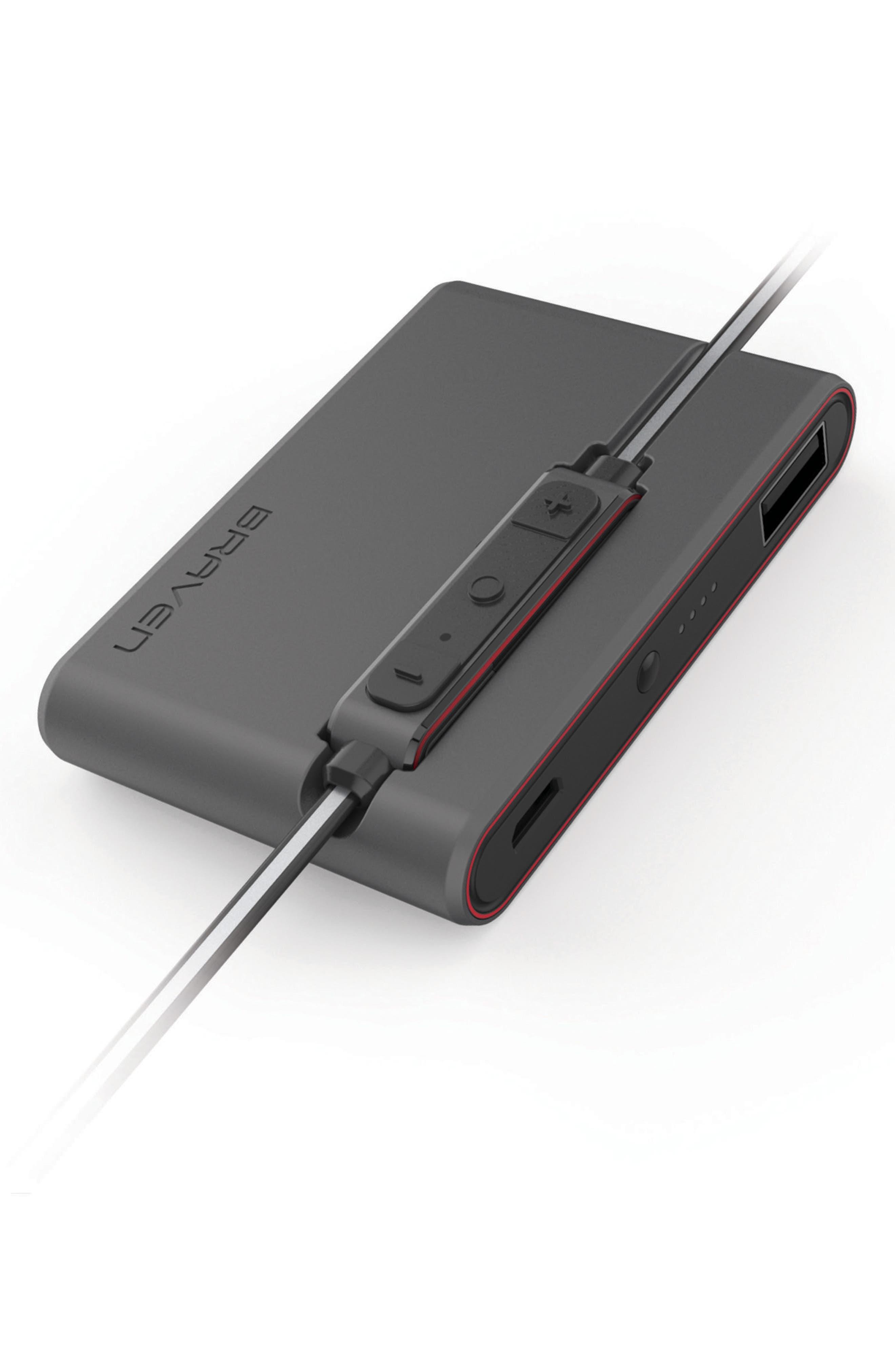 Flye Sport Reflect Bluetooth In-Ear Headphones & Power Bank,                             Alternate thumbnail 4, color,                             Grey/ Red