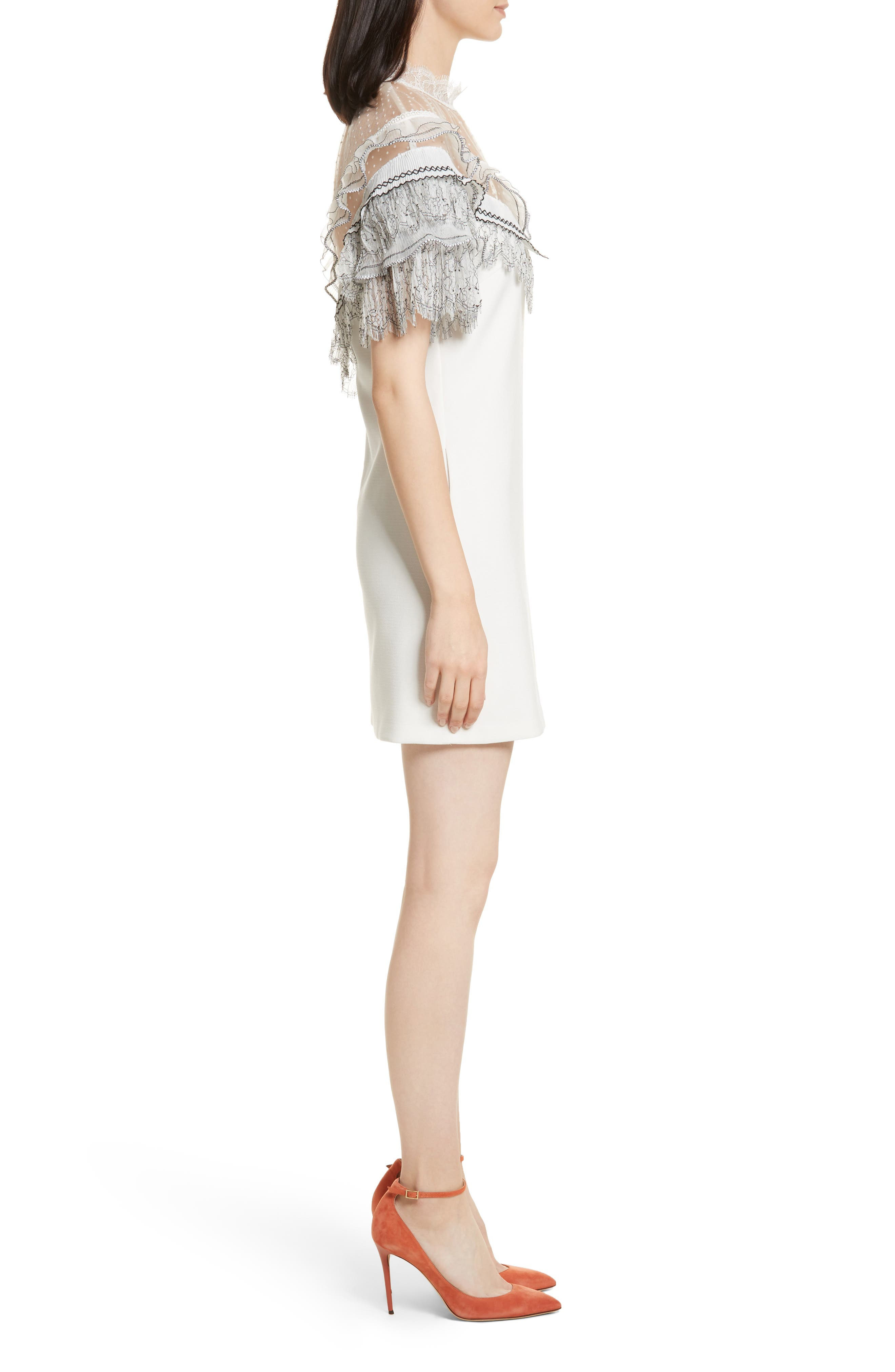 Pleated Lace Trim Minidress,                             Alternate thumbnail 3, color,                             Ivory