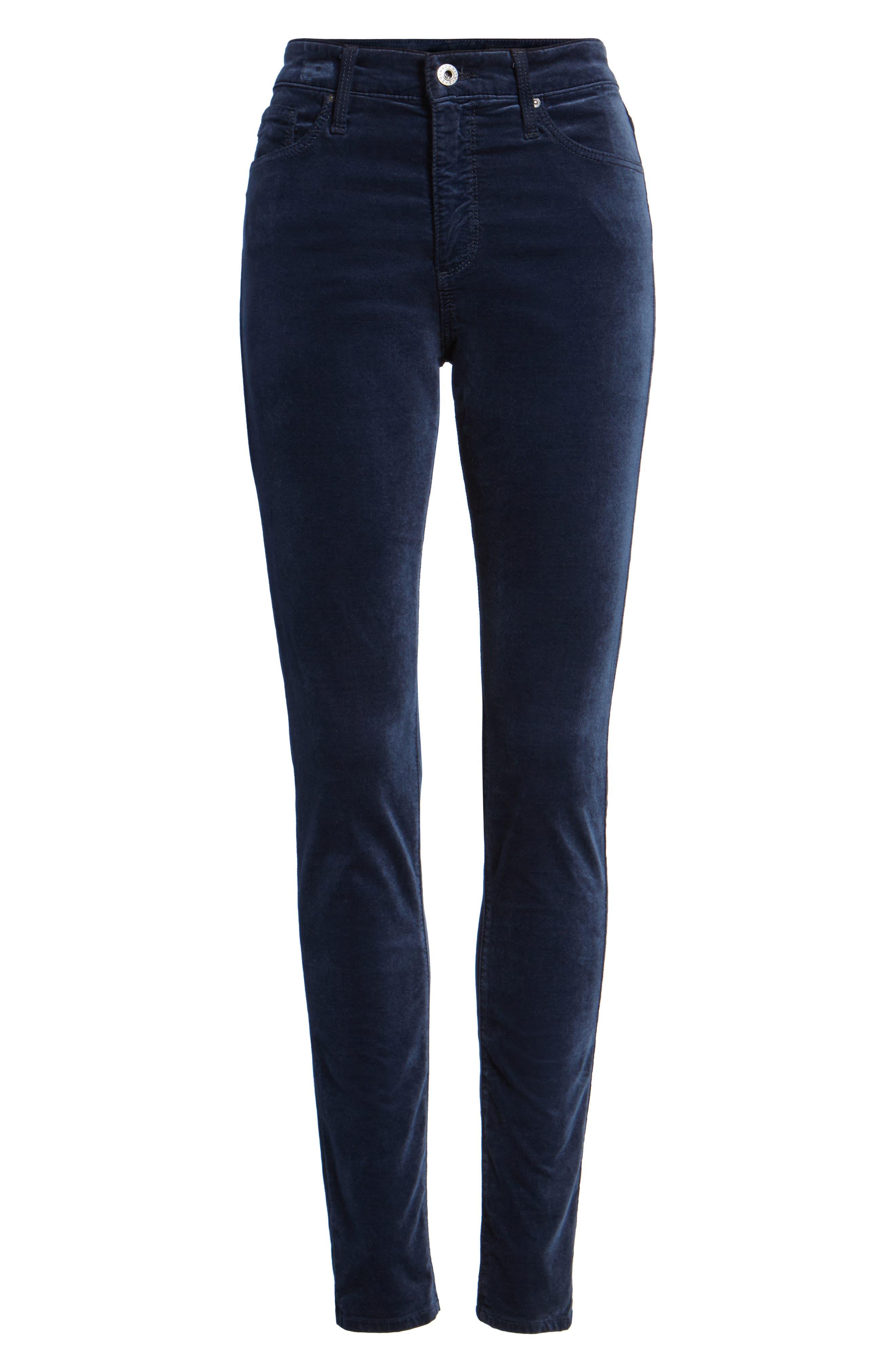 Alternate Image 5  - AG The Farrah High Waist Velvet Jeans