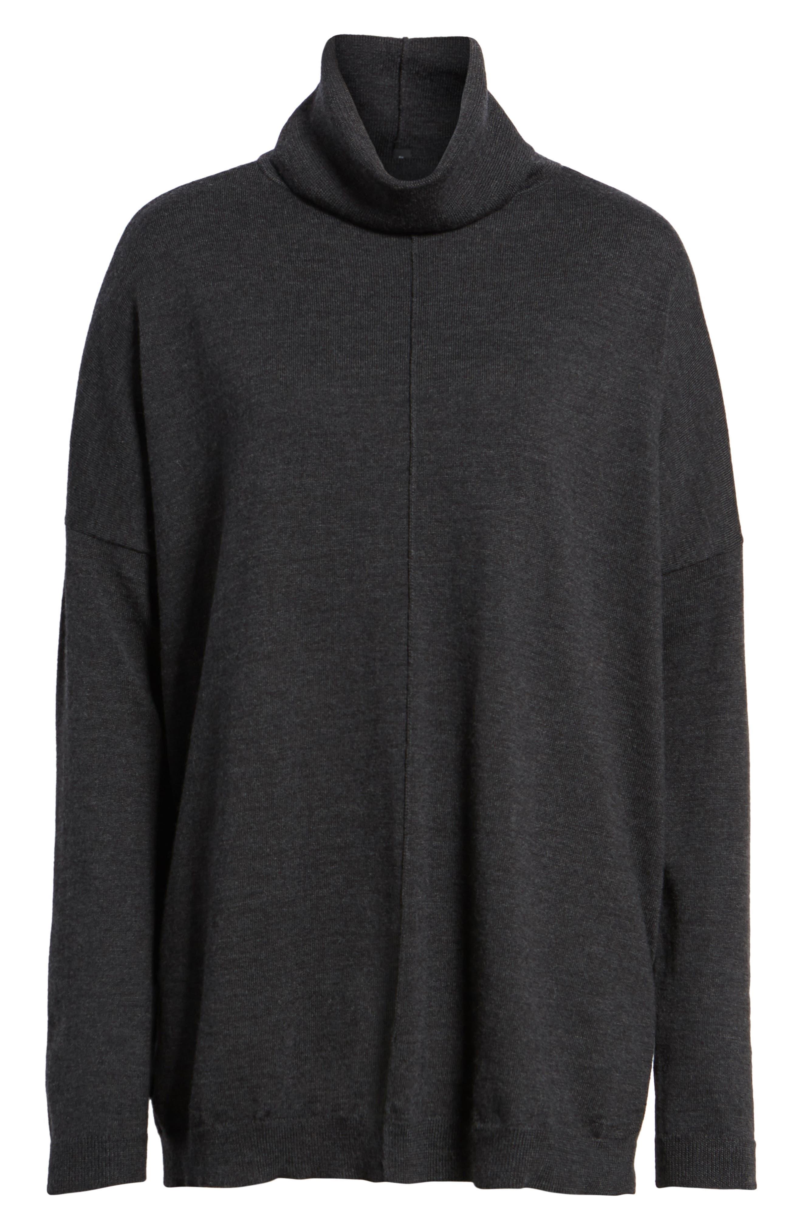 Merino Wool Boxy Turtleneck Sweater,                         Main,                         color, Charcoal