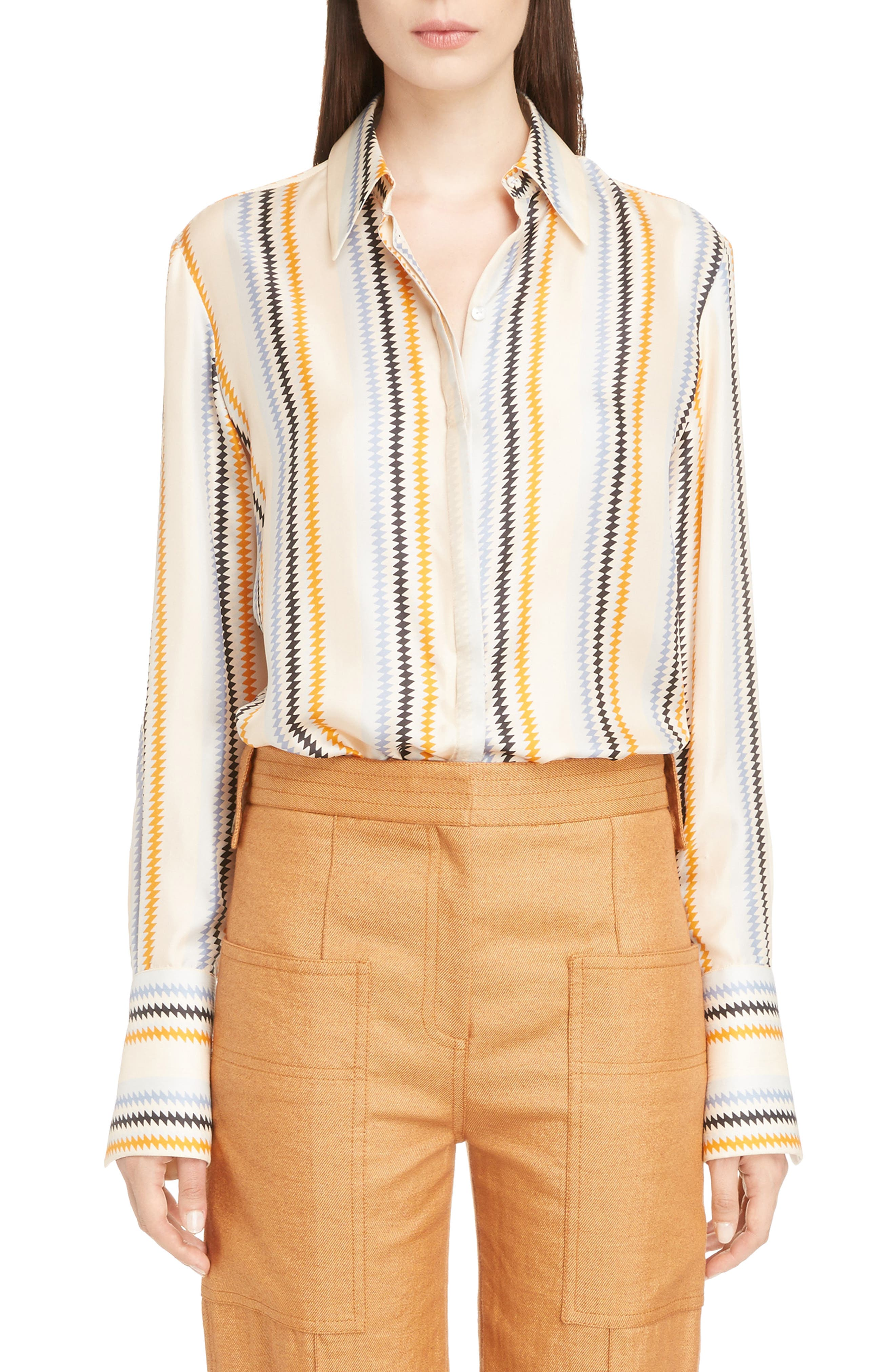 Fluid Stripe Silk Shirt,                         Main,                         color, Zig Zag Stripe