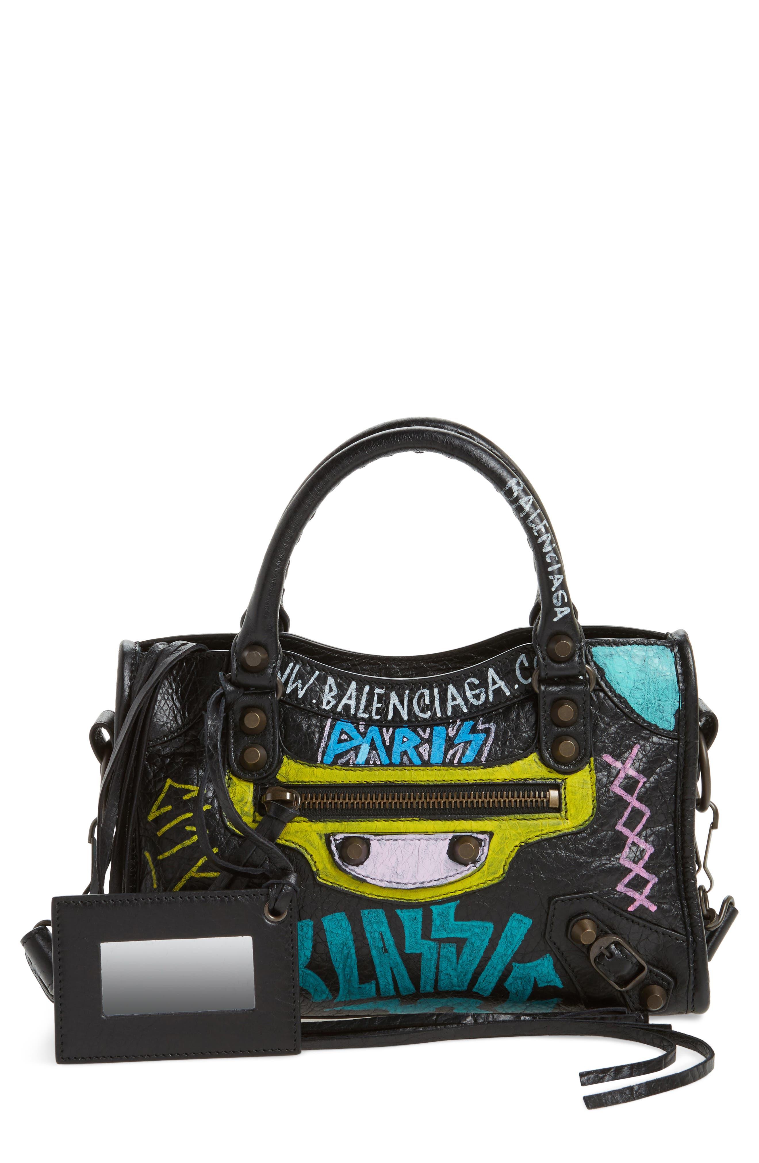 Mini City Graffiti Leather Tote,                             Main thumbnail 1, color,                             Noir/ Multi Color