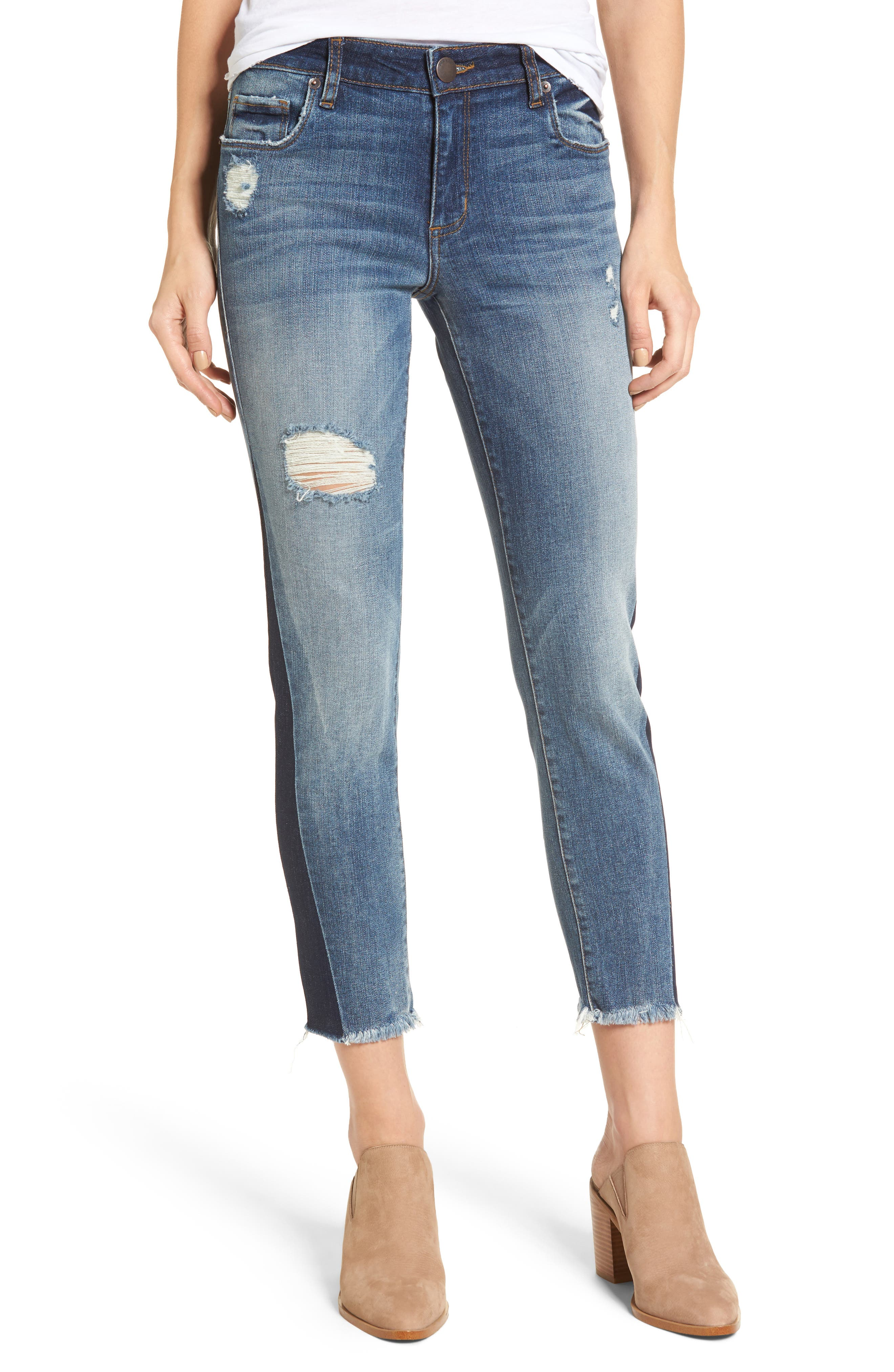 Alternate Image 1 Selected - STS Blue Taylor Colorblock Straight Leg Jeans (Woodruff)