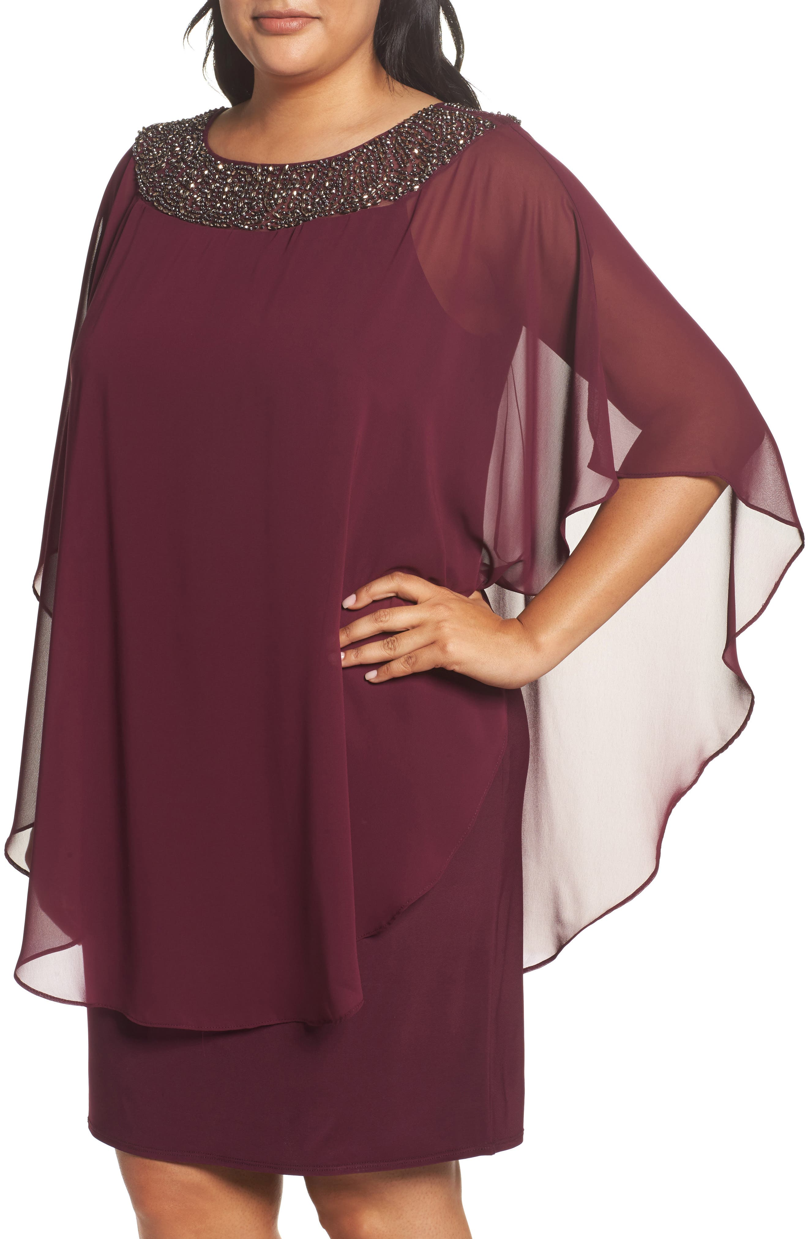 Alternate Image 4  - Xscape Embellished Chiffon Overlay Jersey Sheath Dress (Plus Size)