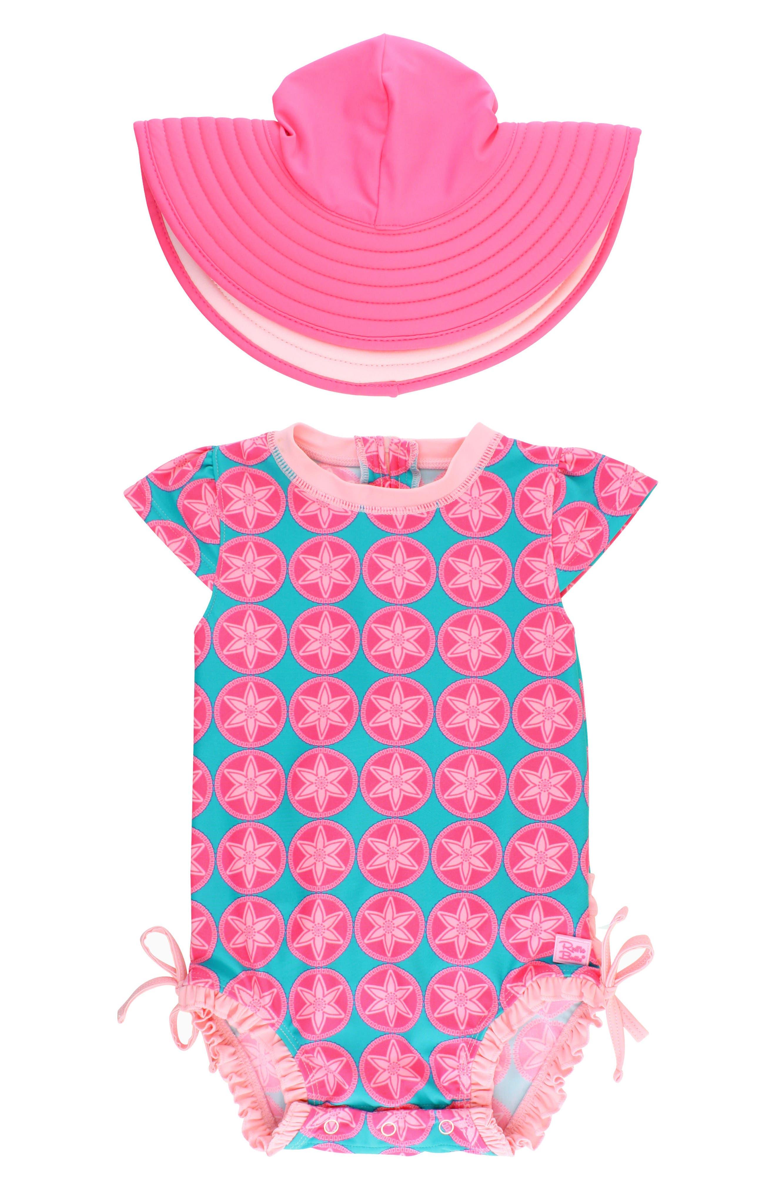 Main Image - RuffleButts Salt Water Taffy One-Piece Swimsuit & Hat Set (Baby Girls)