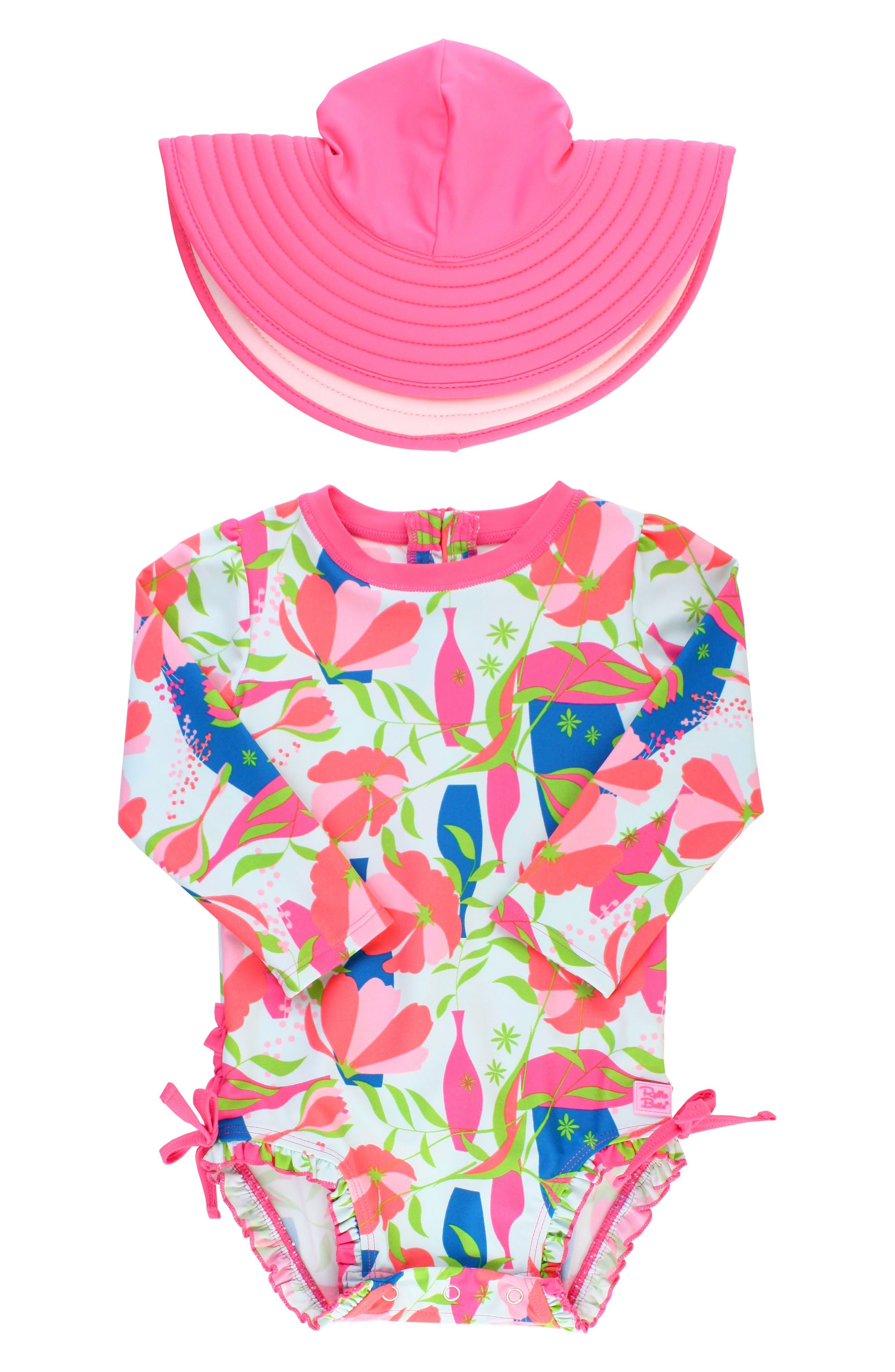Main Image - Ruffle Butts Jeweled Stems One-Piece Rashguard Swimsuit & Sun Hat Set (Baby Girls)