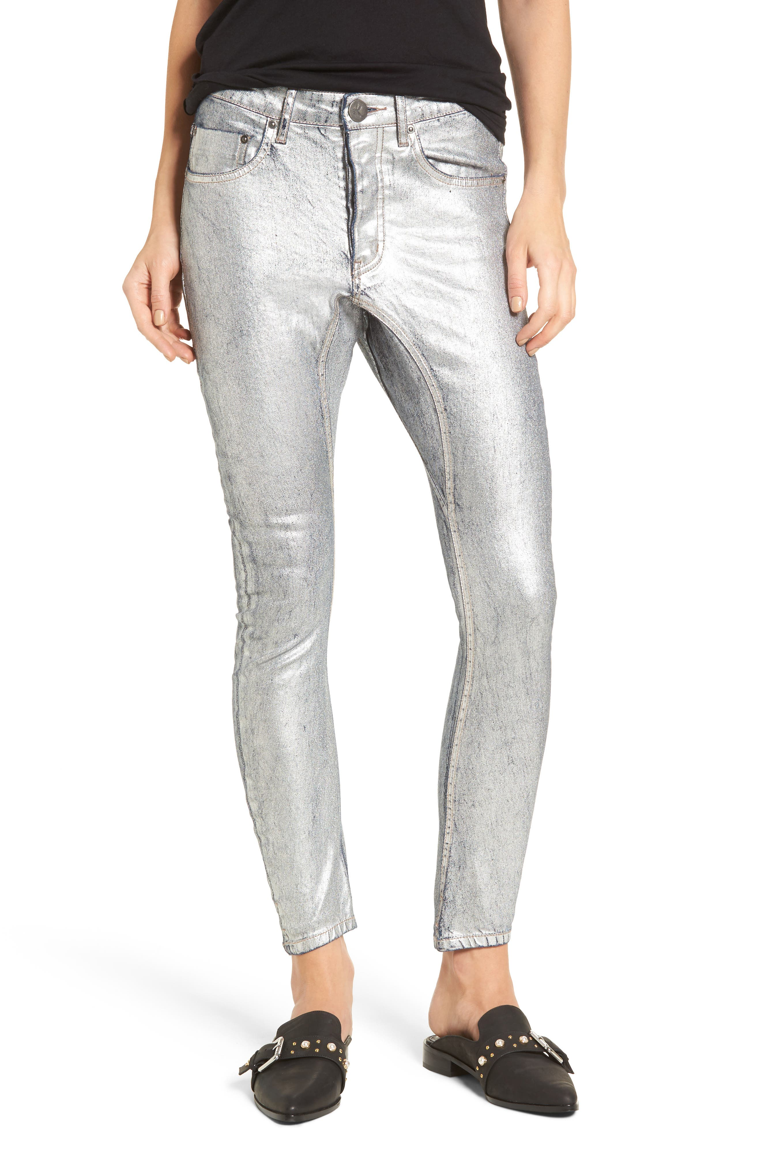 One Teaspoon Kidds Metallic Drop Crotch Skinny Jeans