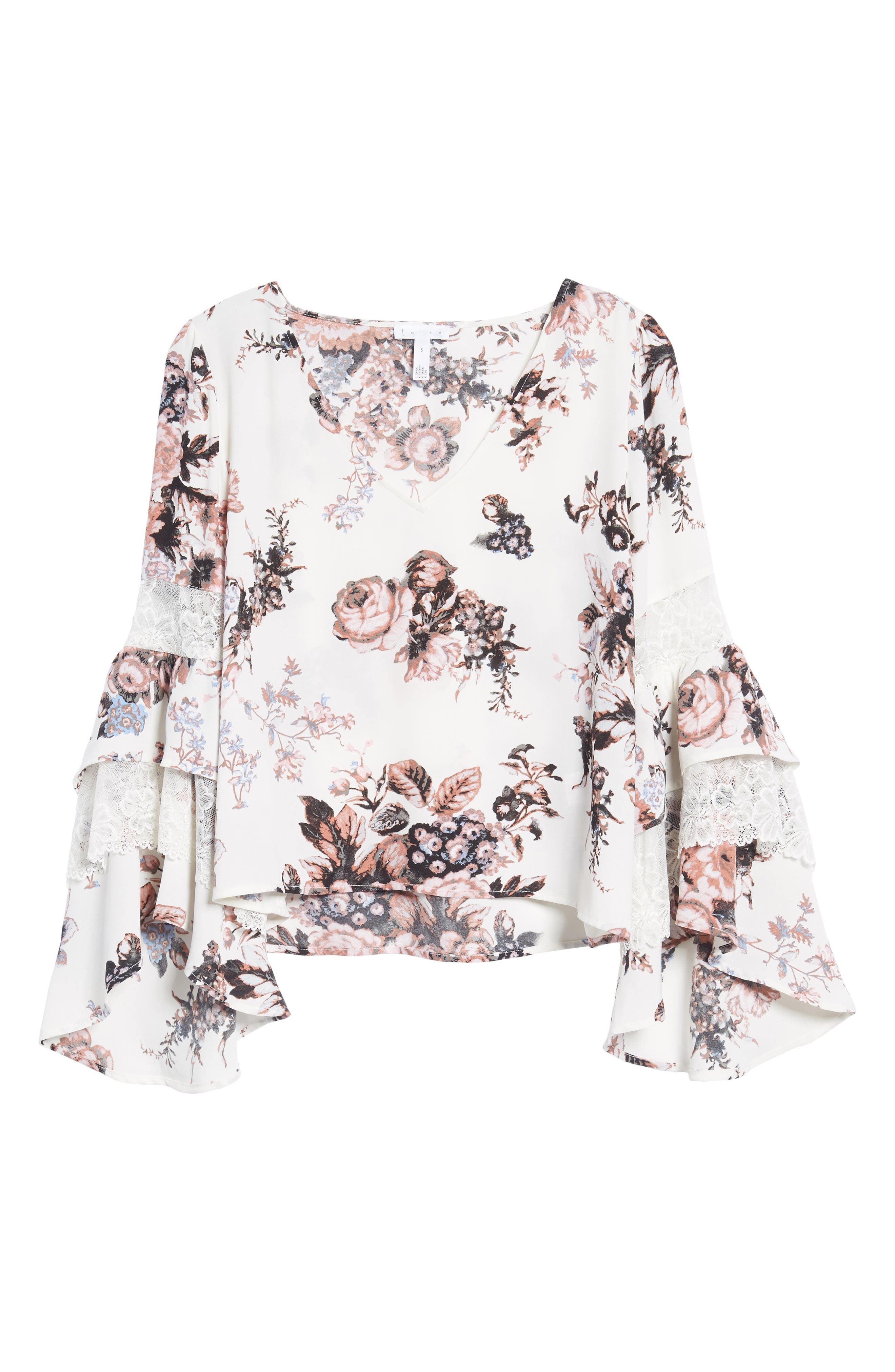 Ruffle Bell Sleeve Top,                             Alternate thumbnail 6, color,                             White Snow Photo Real Floral