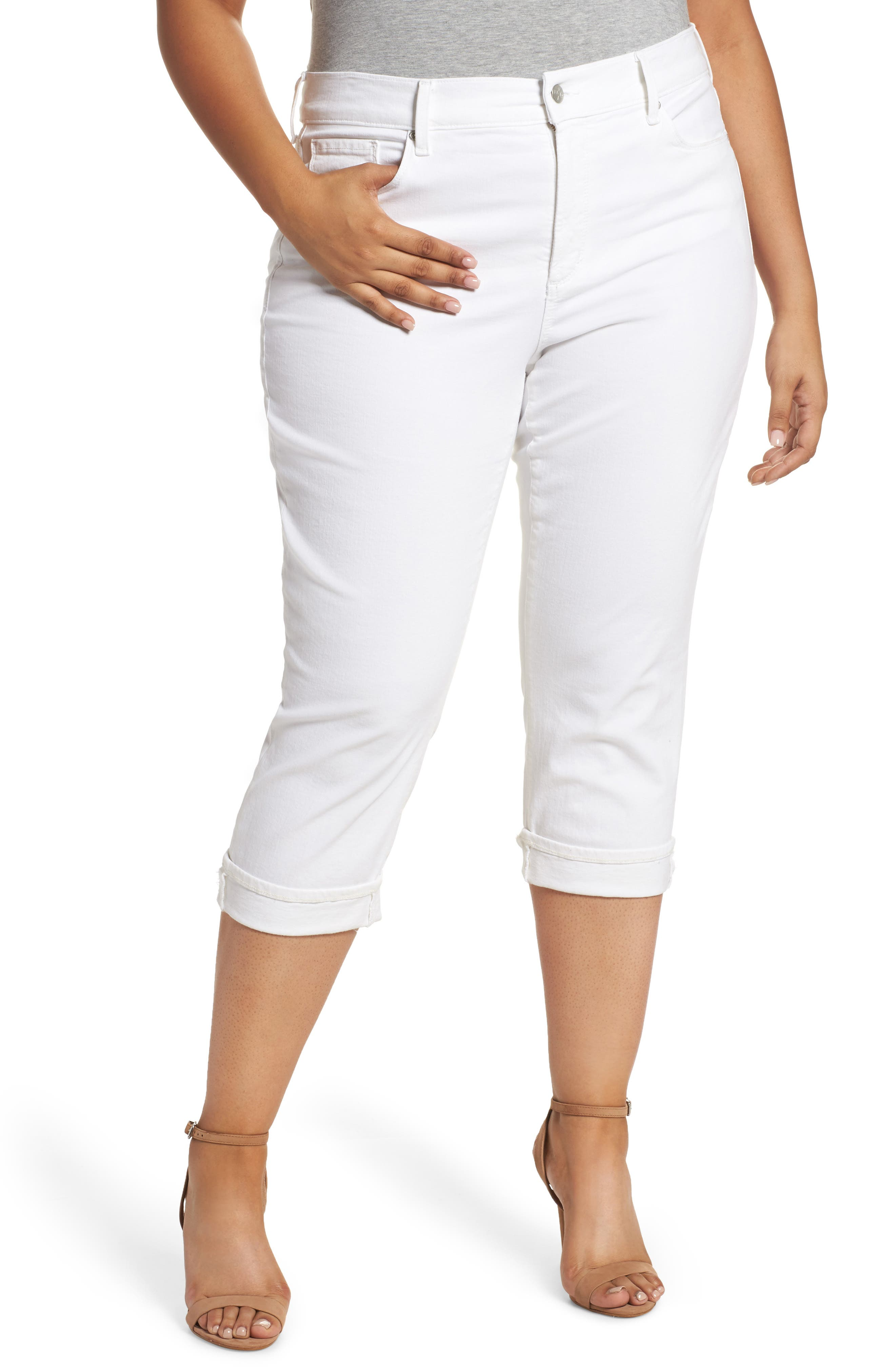 SLINK Jeans Stretch Straight Leg Crop Jeans (Plus Size)