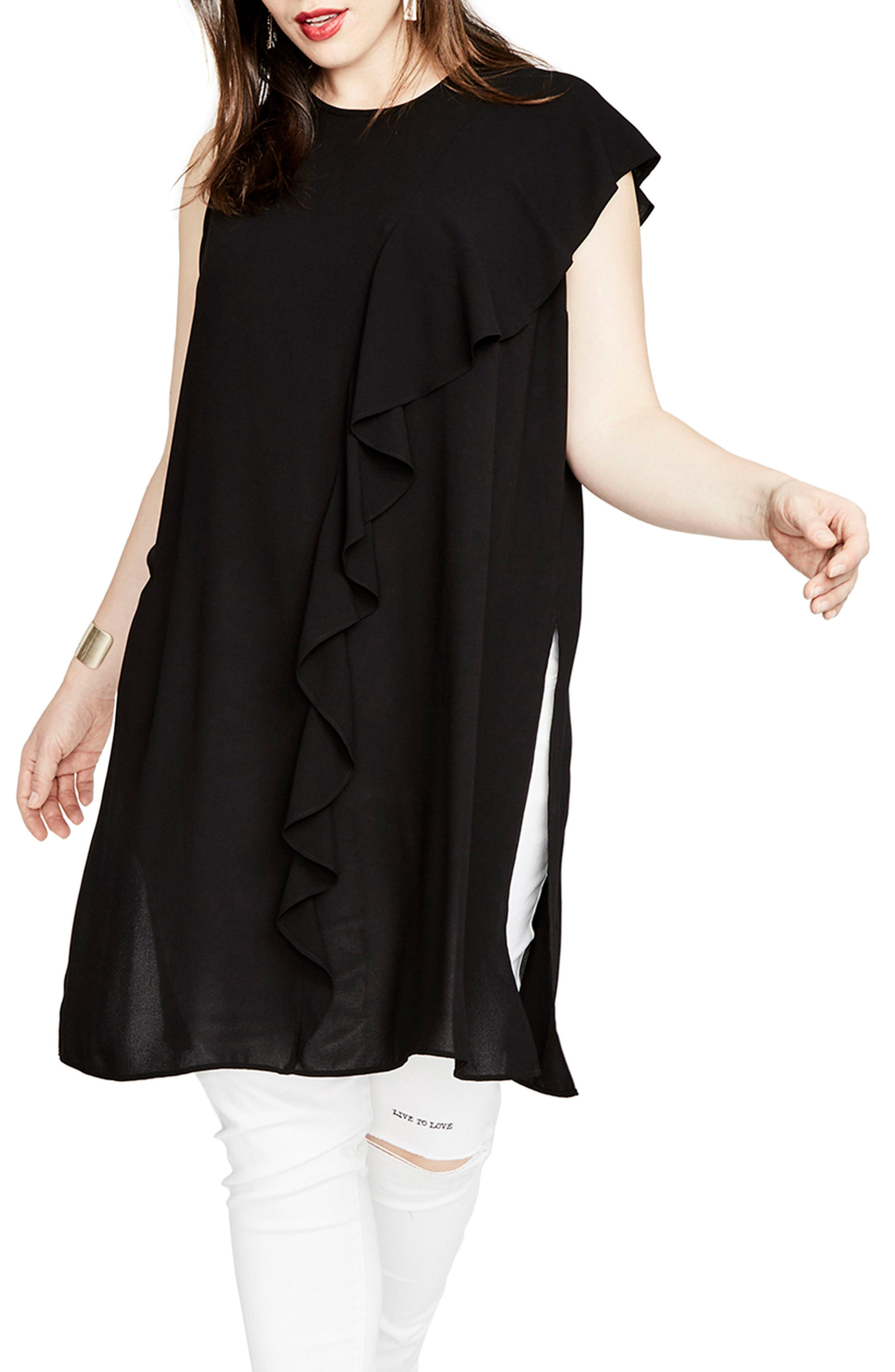 Ruffle Tunic Top,                         Main,                         color, Black