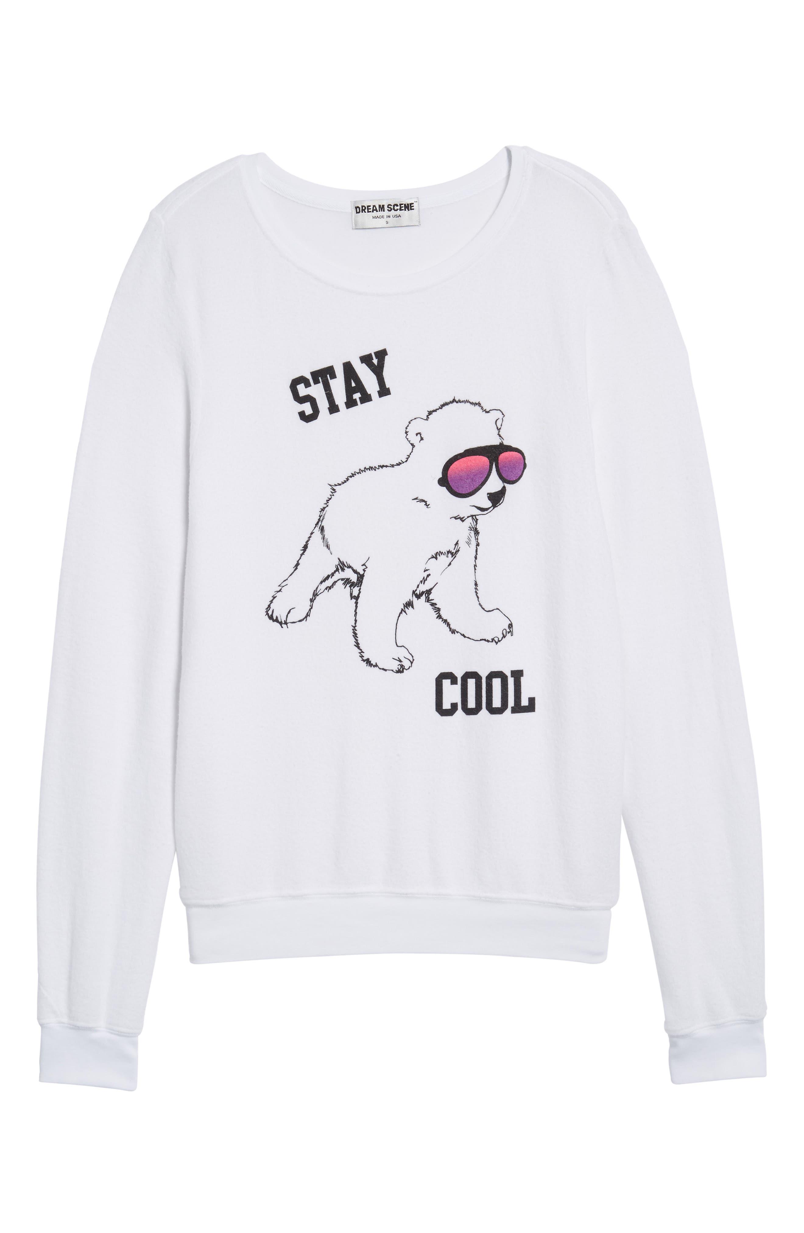 Stay Cool Polar Bear Sweatshirt,                             Alternate thumbnail 6, color,                             Clean White