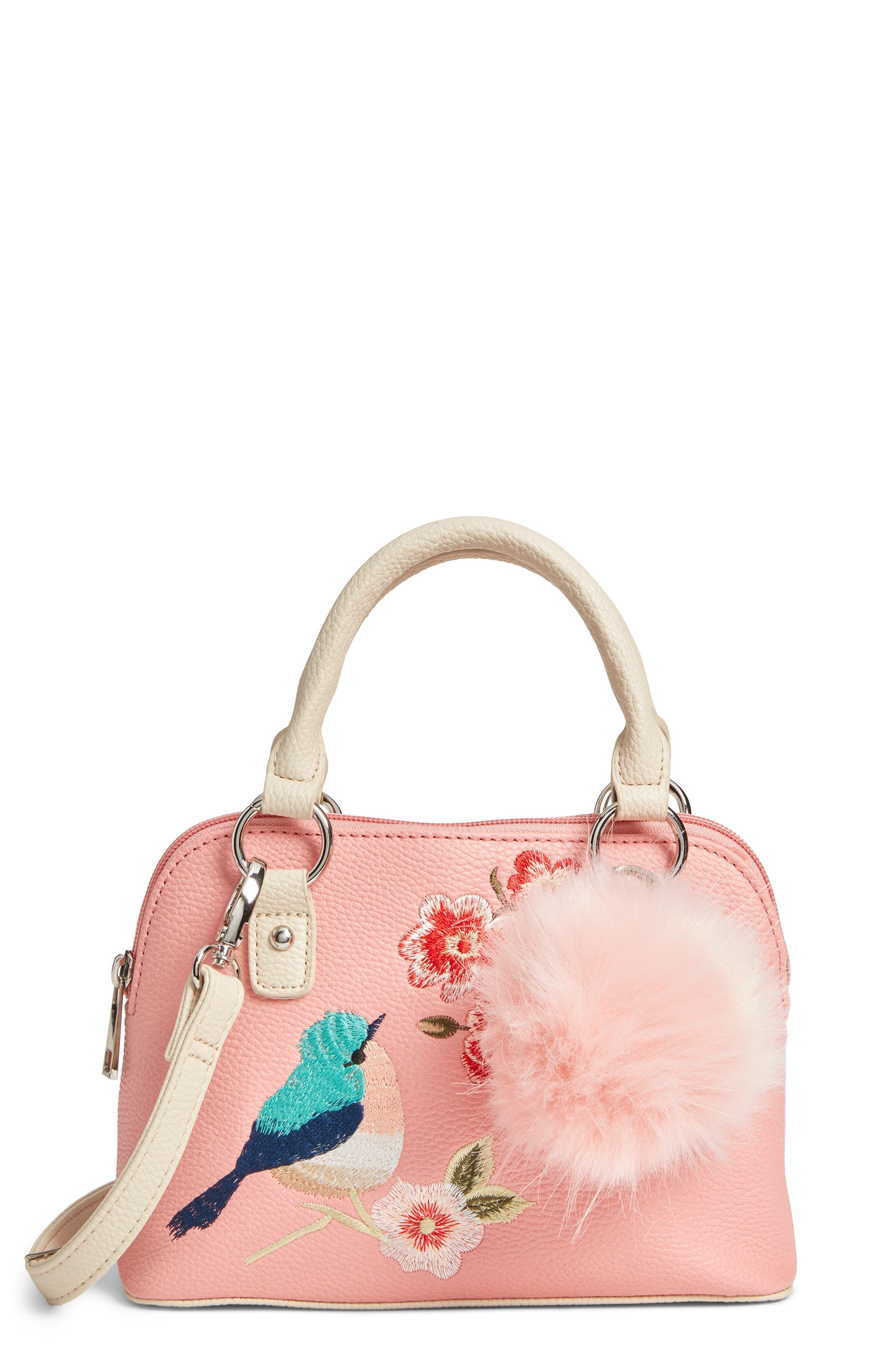 Embroidered Handbag,                         Main,                         color, Pink