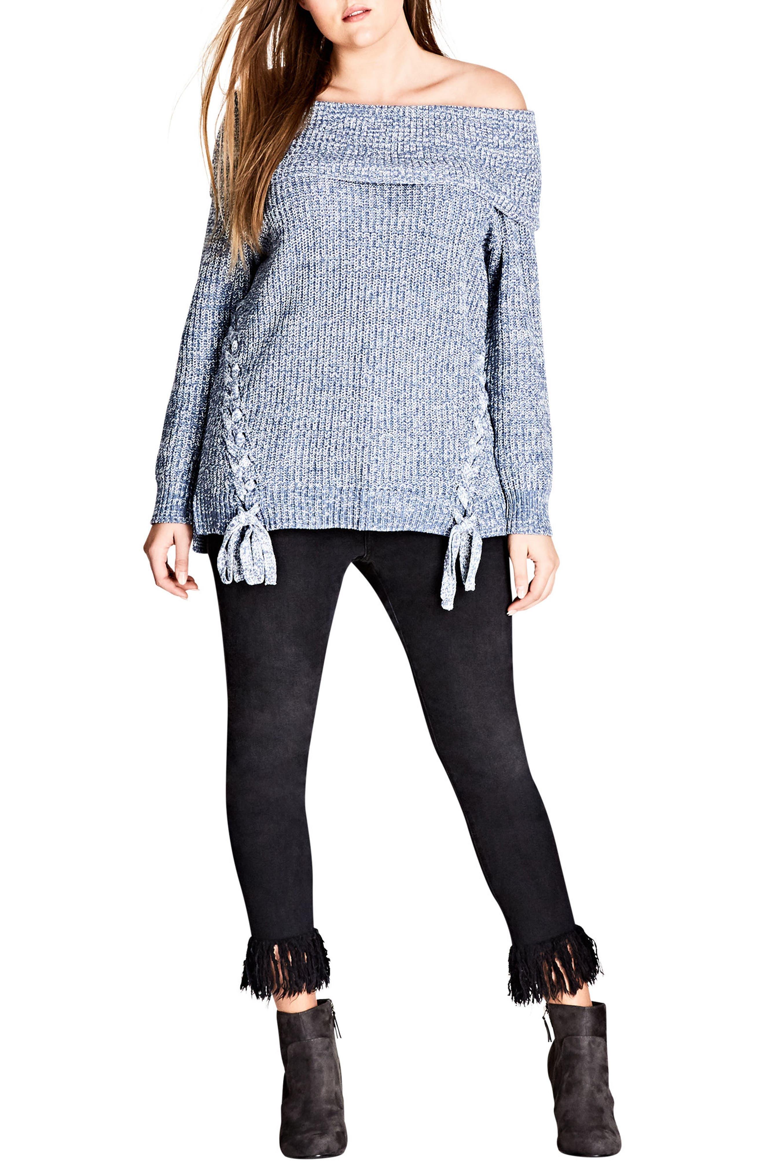 Intertwine Convertible Lace-Up Pullover,                         Main,                         color, Indigo