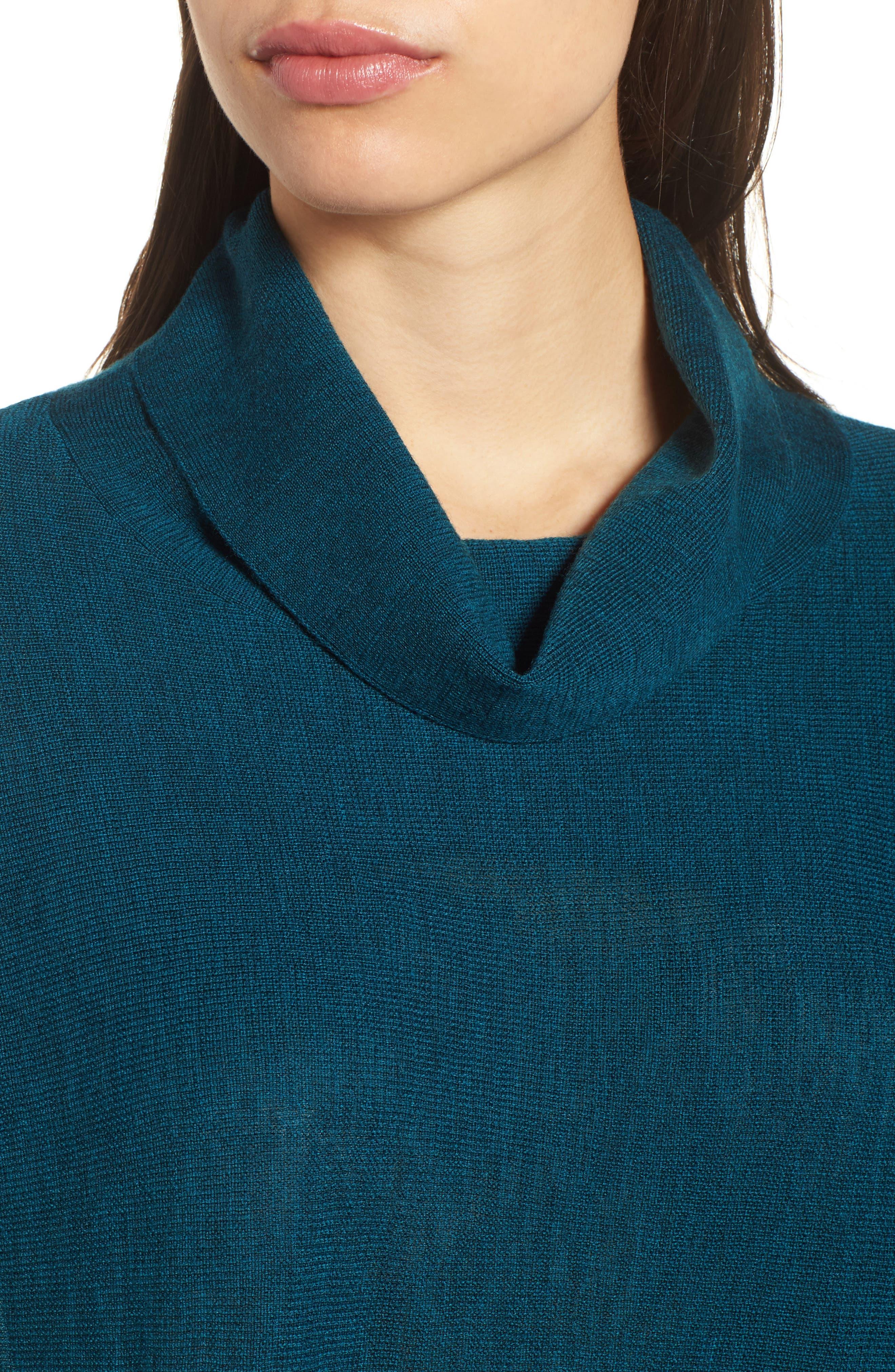 Merino Wool Tunic Sweater,                             Alternate thumbnail 4, color,                             Blue Spruce