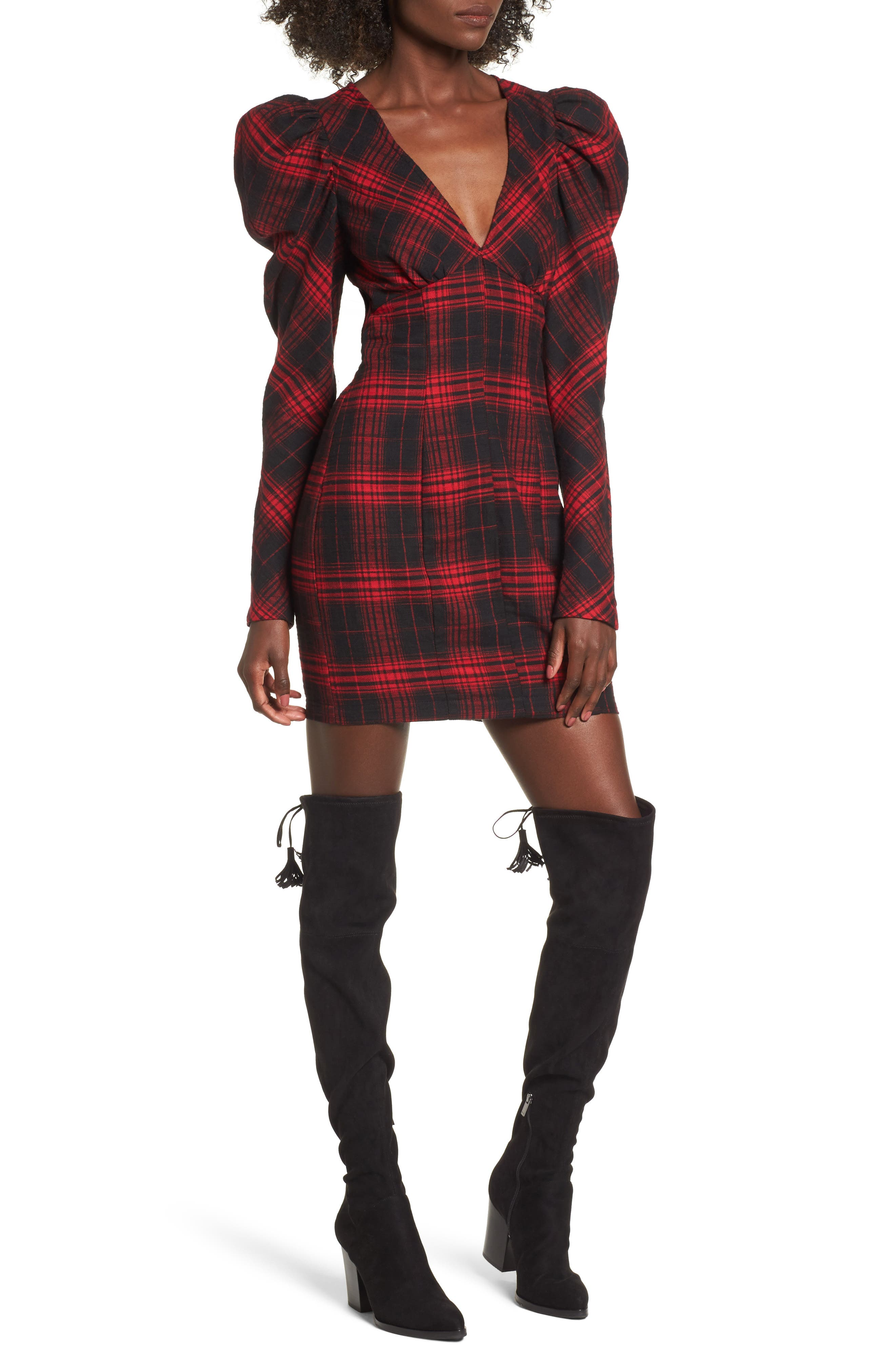 Jonah Puff Sleeve Flannel Dress,                         Main,                         color, Red Flannel
