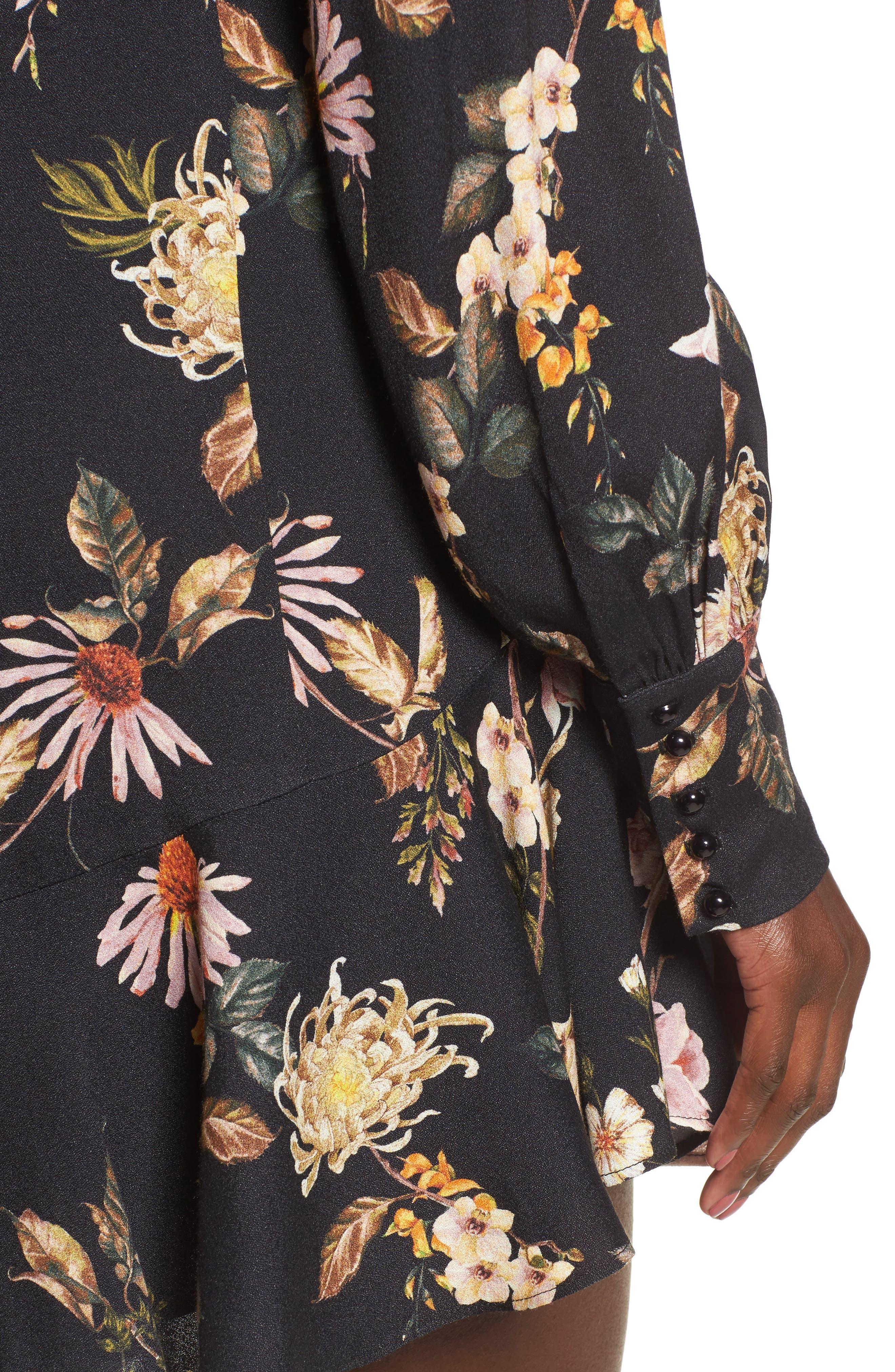 Savanna Lattice Back Fit & Flare Dress,                             Alternate thumbnail 4, color,                             Noir Floral