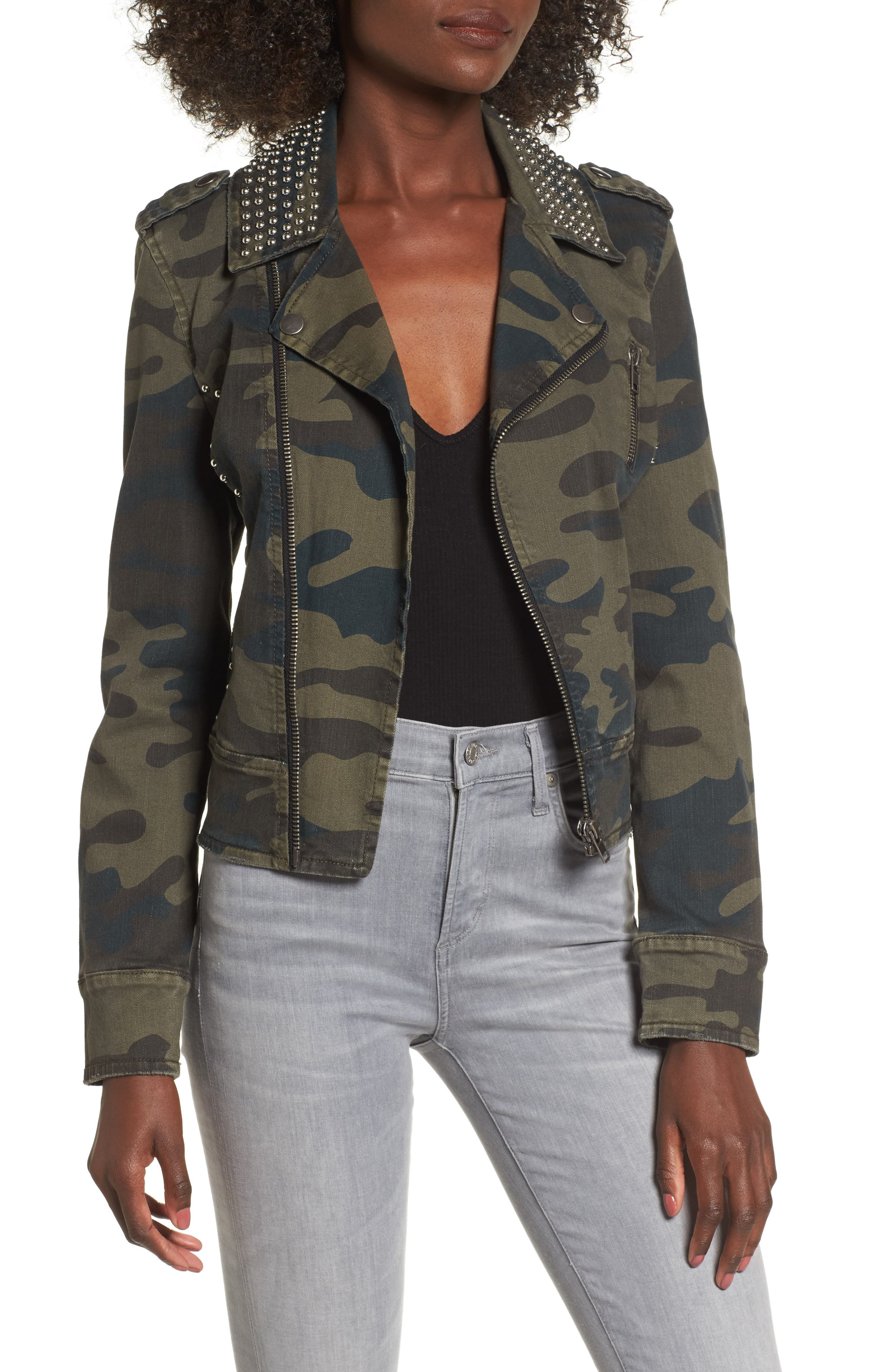 Studded Leopard Print Moto Jacket,                             Main thumbnail 1, color,                             Camo