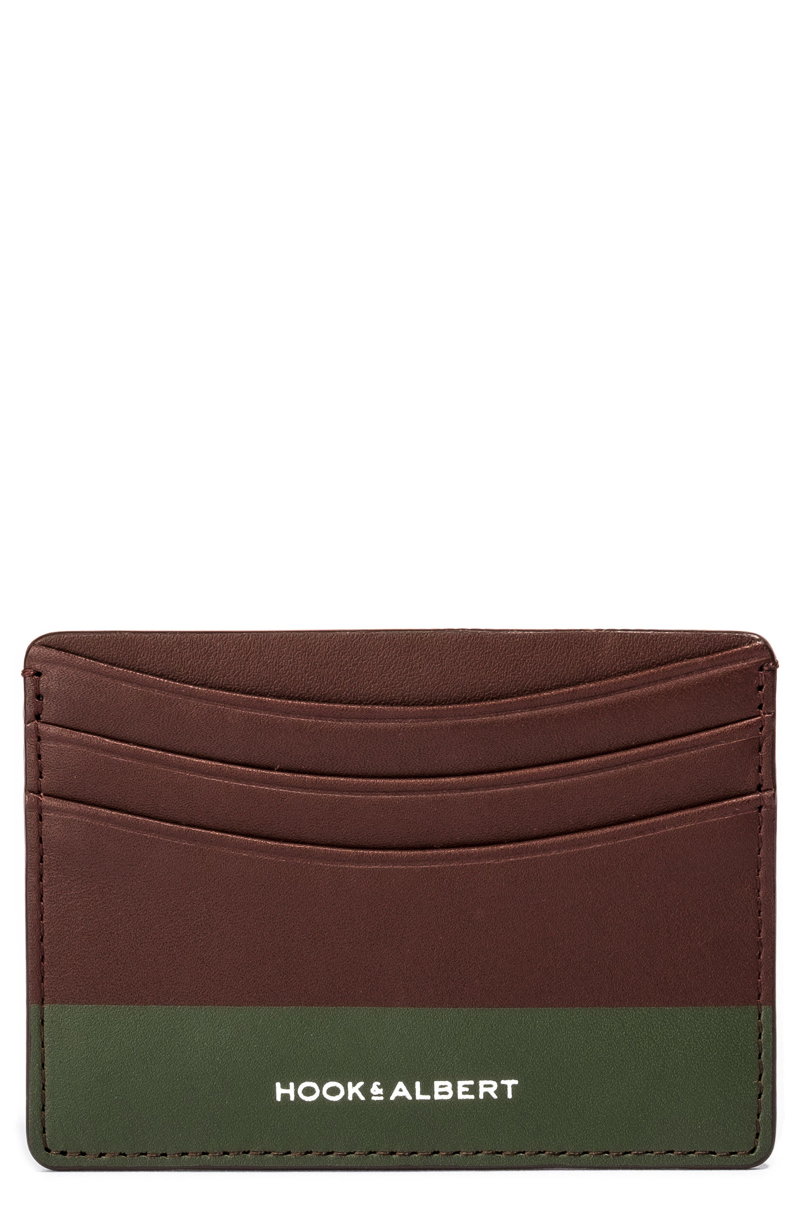 Leather Card Case,                         Main,                         color, Olive