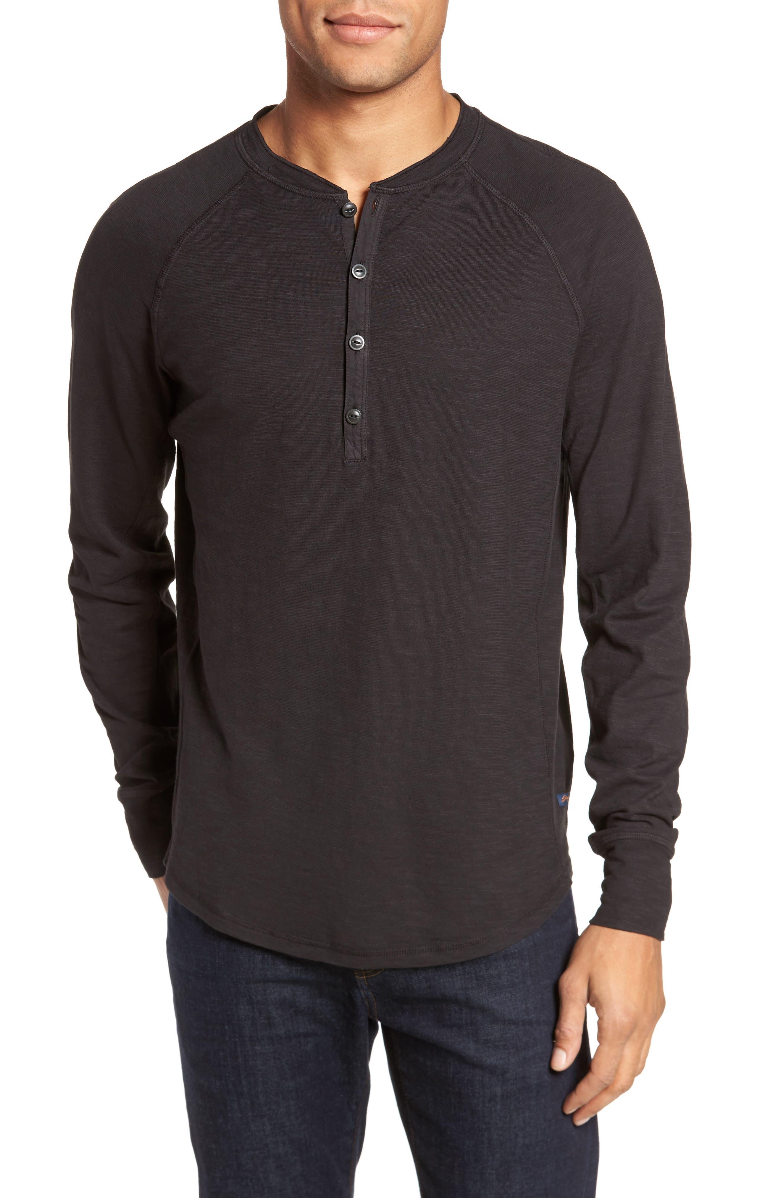 Slim Fit Slub Henley,                         Main,                         color, Black