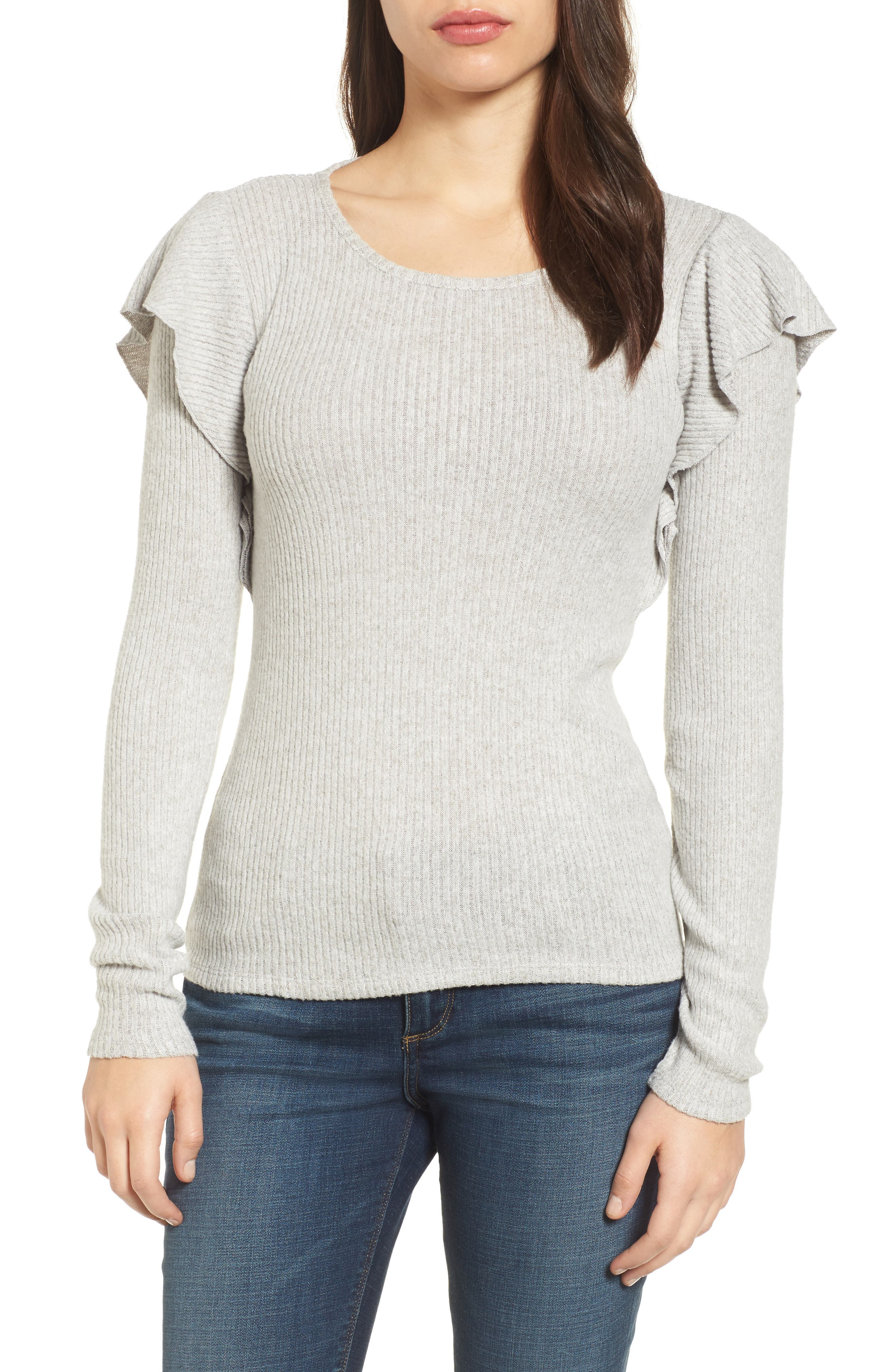 Lucky Brand Ruffle Trim Ribbed Sweater