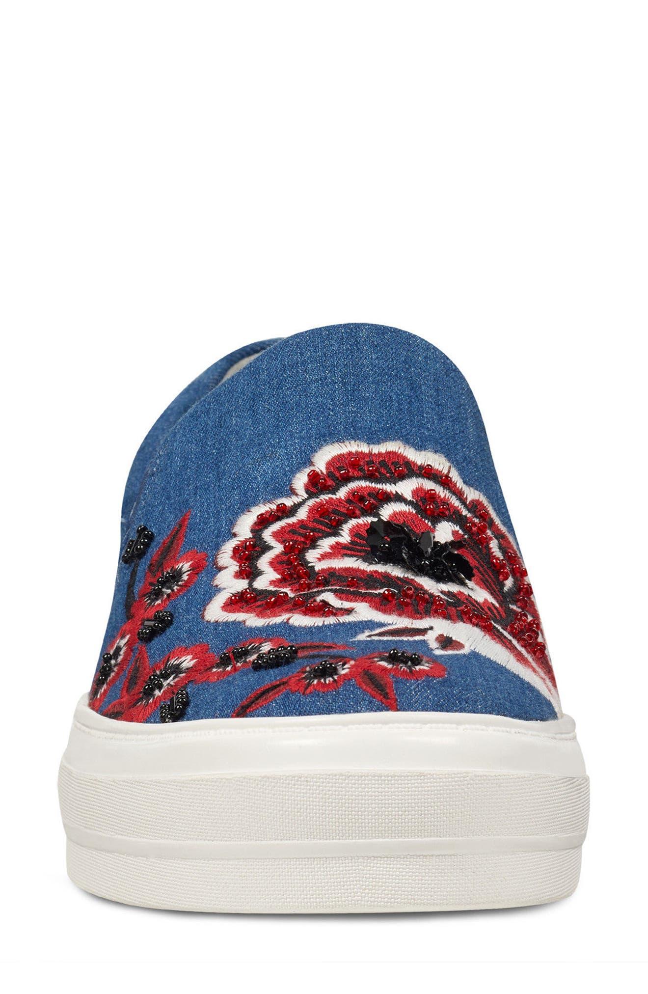 Alternate Image 4  - Nine West Onyeka Embroidered Slip-On Sneaker (Women)