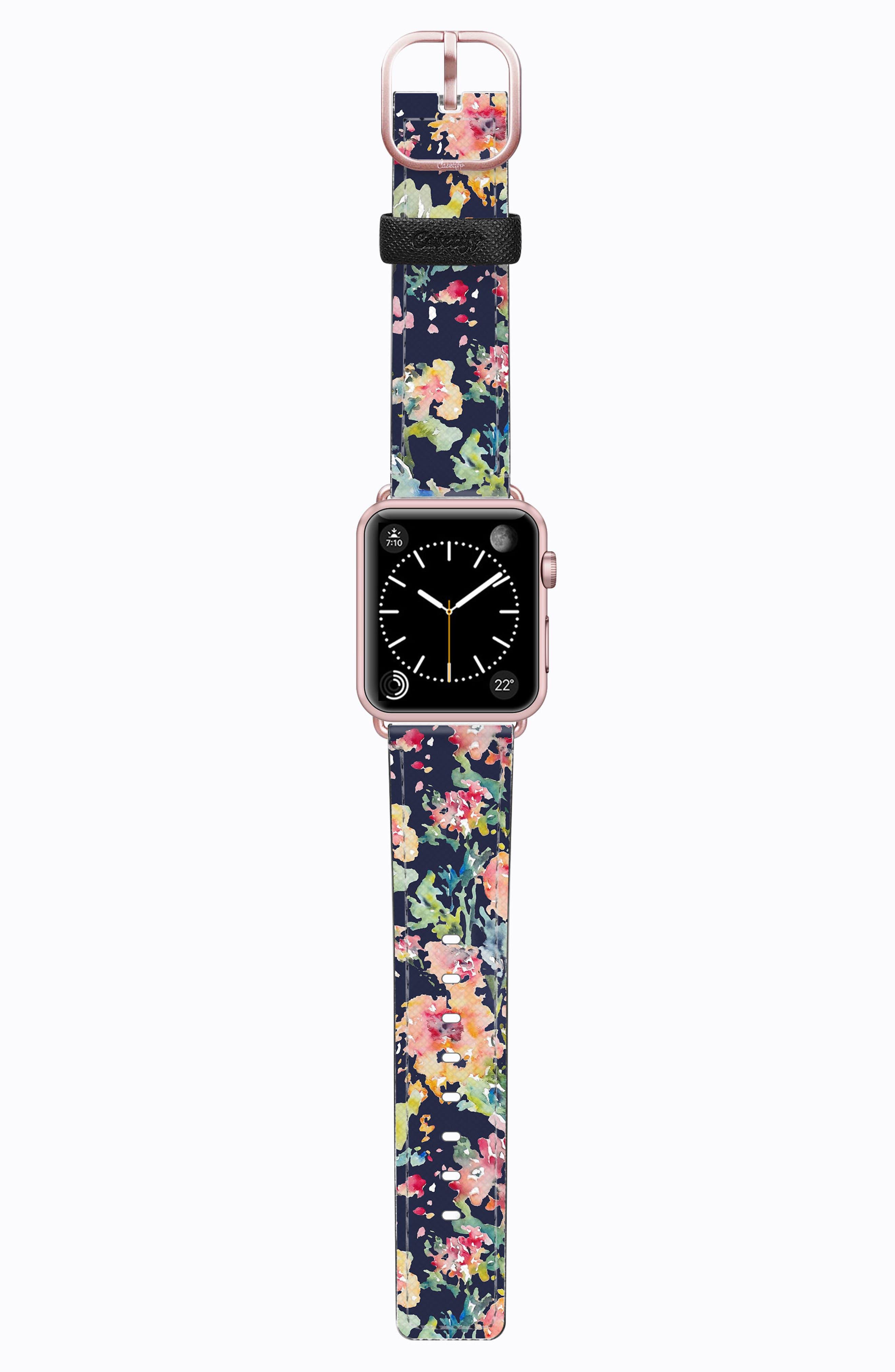 Saffiano Faux Leather Apple Watch Strap,                         Main,                         color, Blue Floral