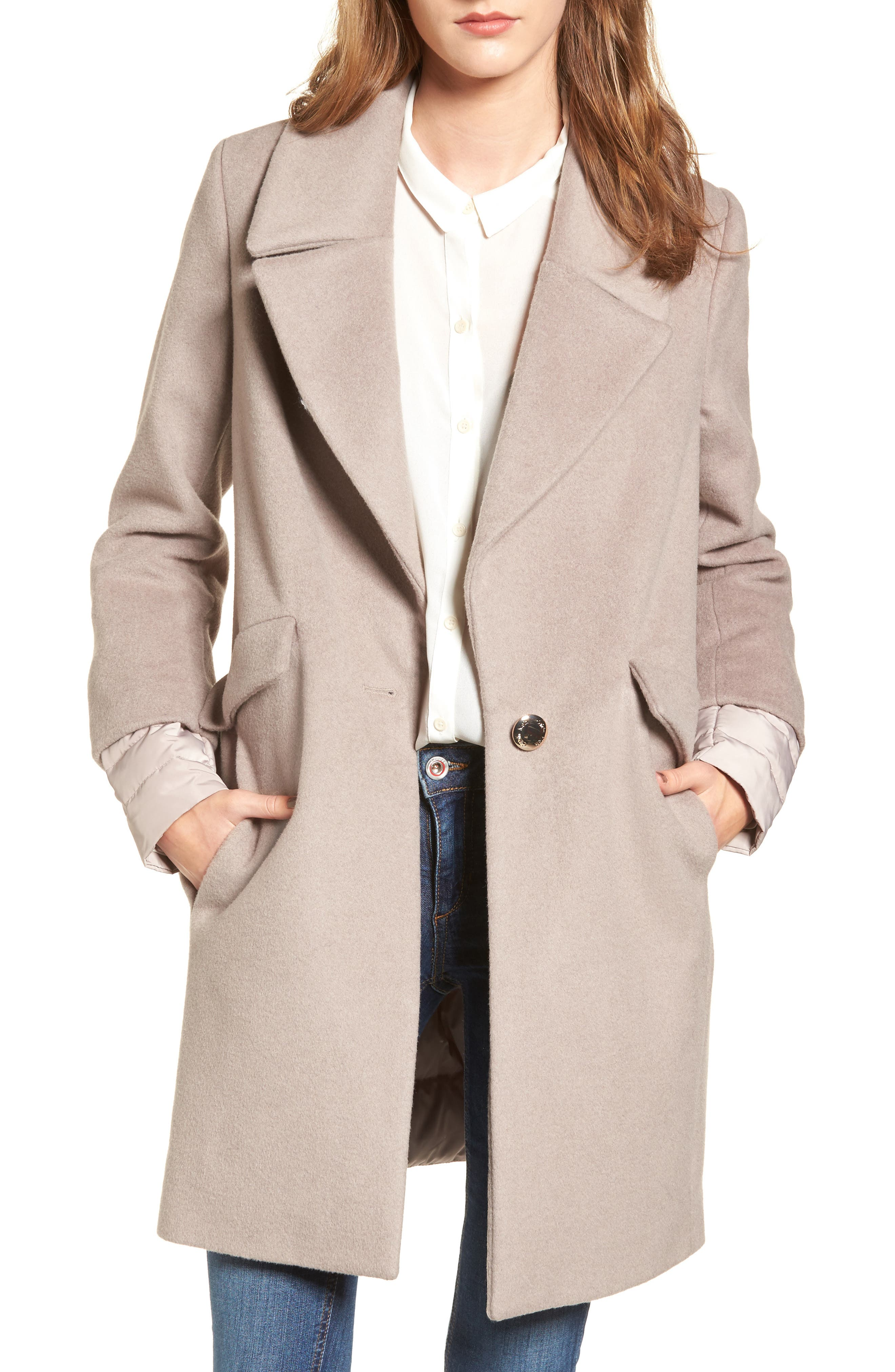 Wool & Down Reefer Coat,                             Main thumbnail 1, color,                             Thistle