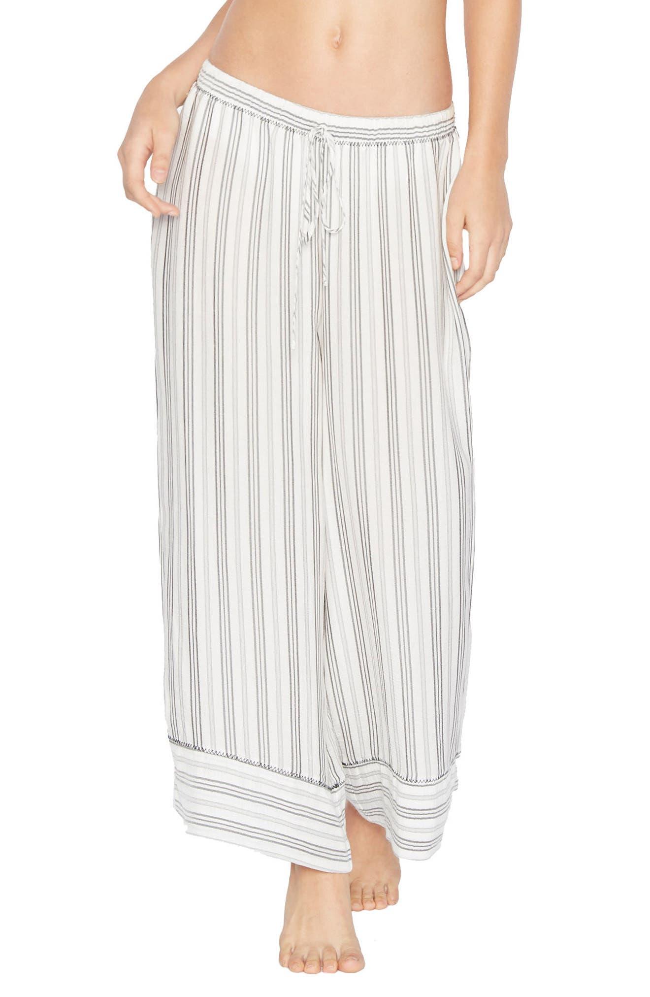Wide Leg Drawstring Pants,                         Main,                         color, Grey/ White
