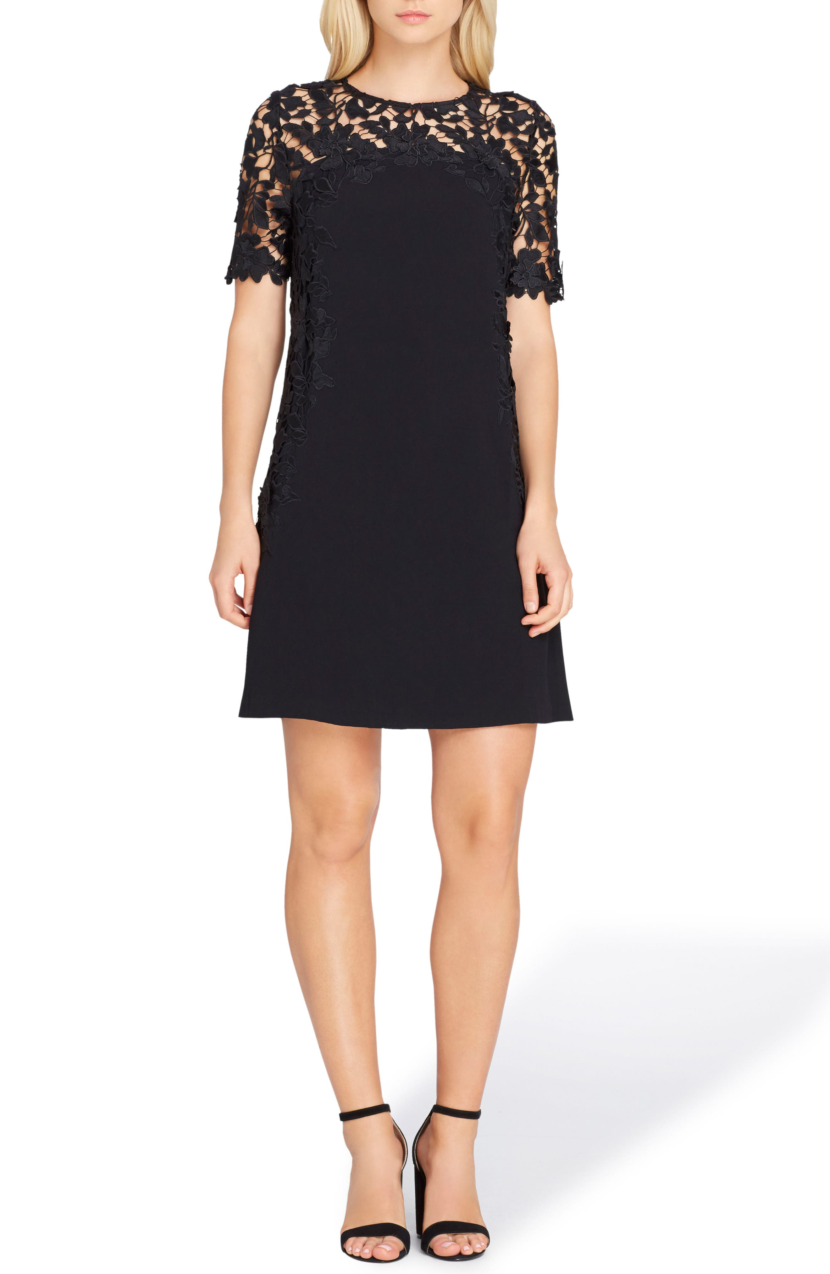 Lace Sheath Dress,                             Main thumbnail 1, color,                             Black