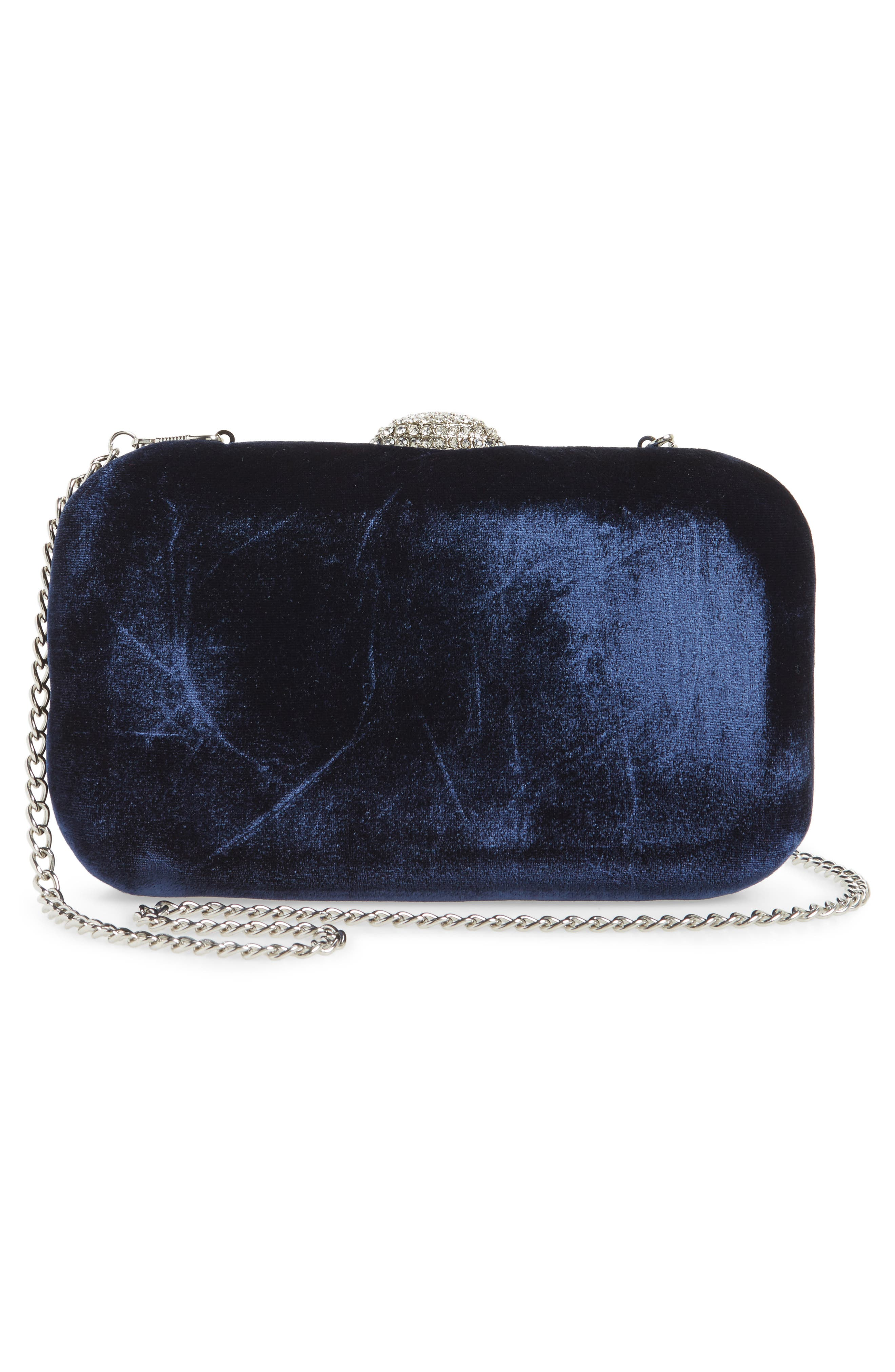 Barlow Quilted Velvet Minaudière,                             Alternate thumbnail 3, color,                             Navy