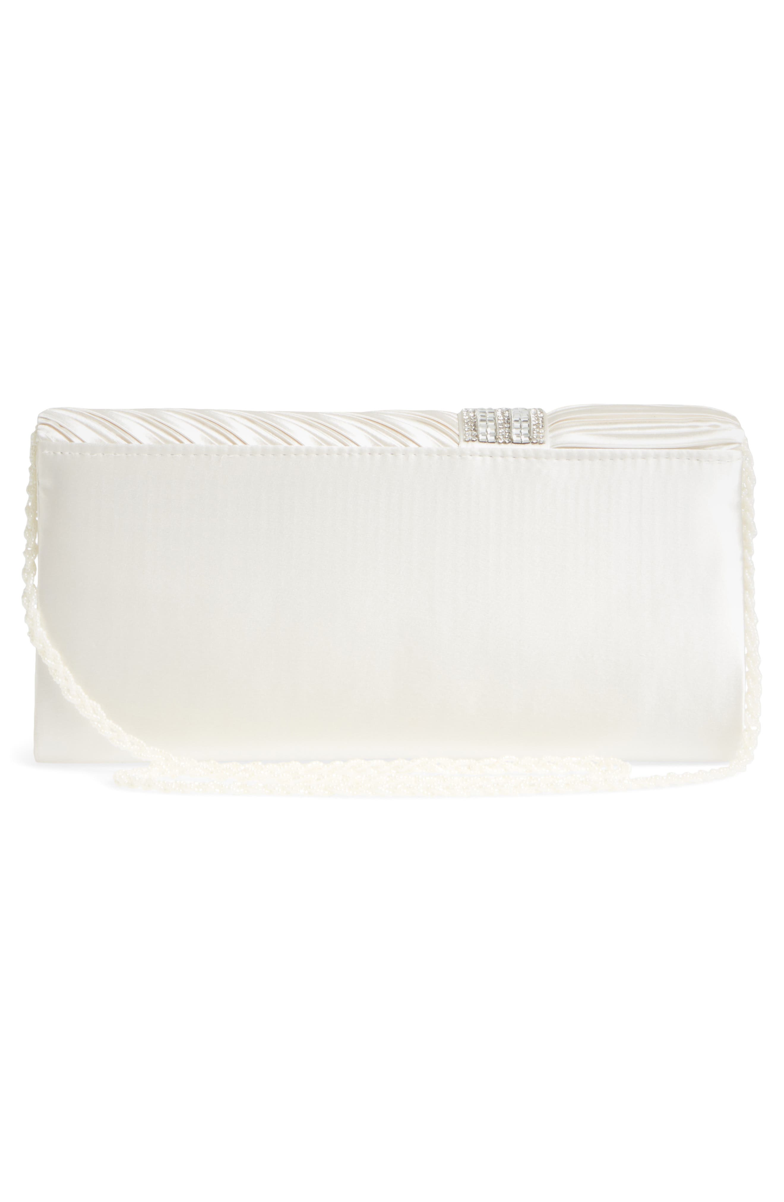 Daylie Pleated Satin Clutch,                             Alternate thumbnail 3, color,                             Ivory