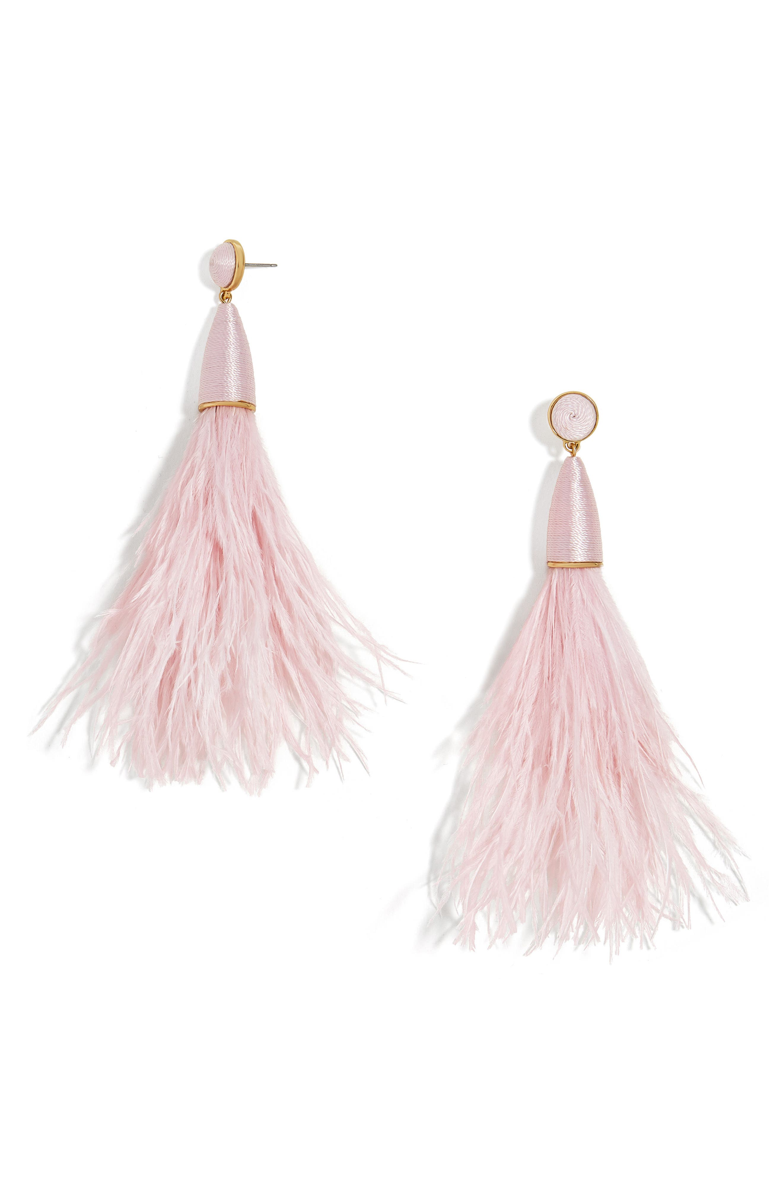 Chateau Feather Tassel Earrings,                         Main,                         color, Blush