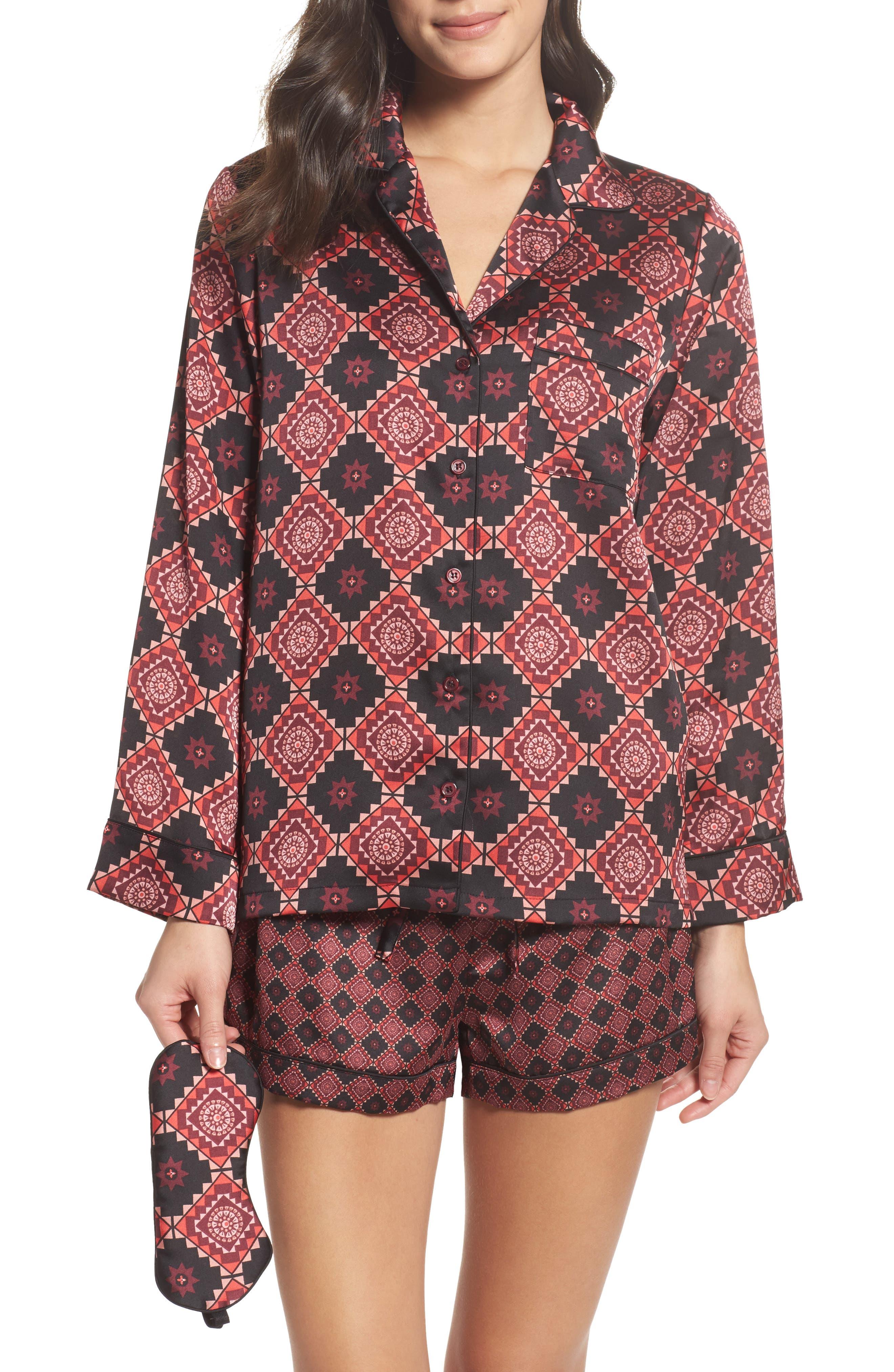 Short Pajamas & Eye Mask Set,                             Main thumbnail 1, color,                             Large Windsor Wine Aztec