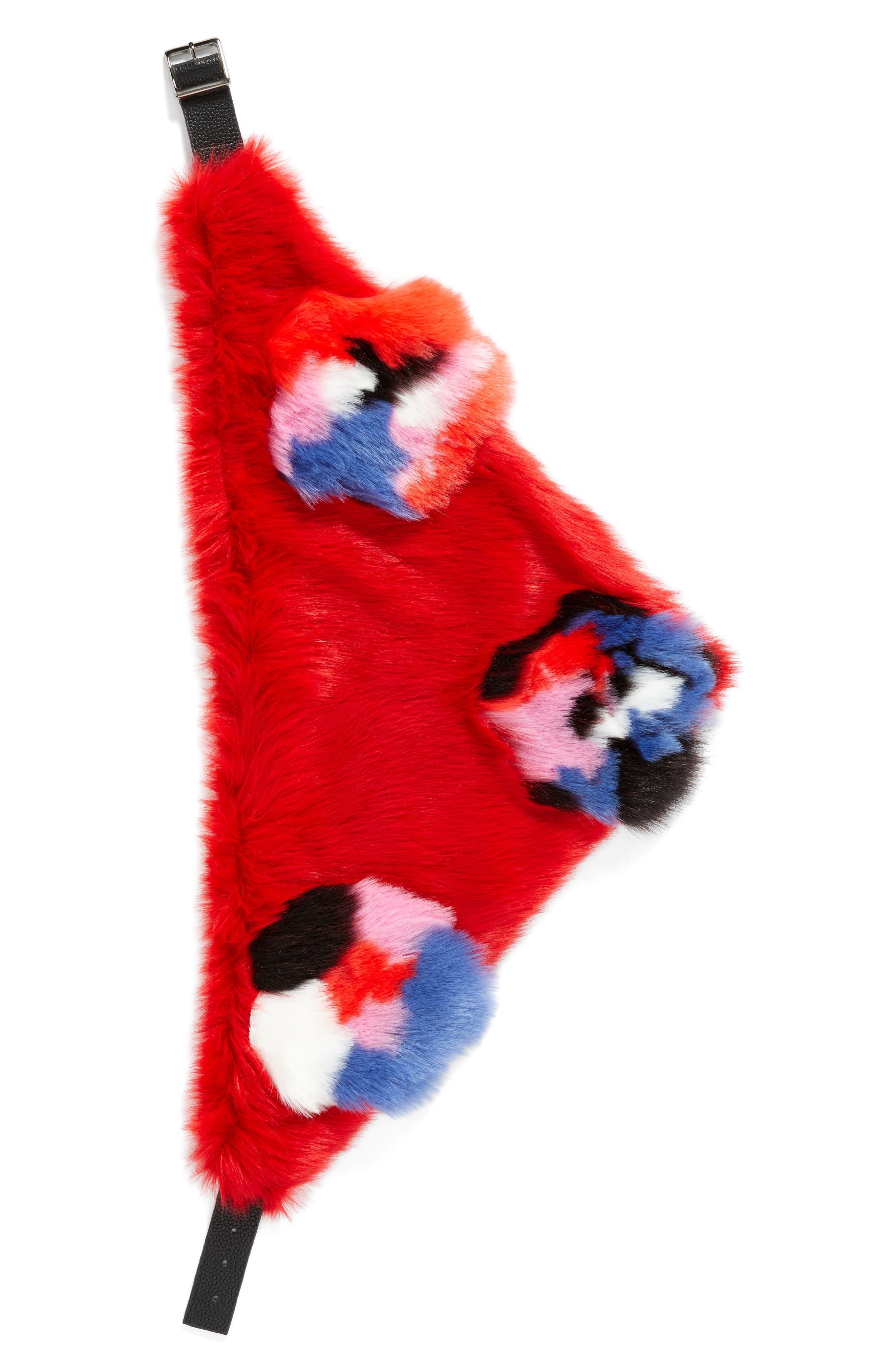 Triangle Faux Fur Scarf,                             Alternate thumbnail 2, color,                             Floral Fur