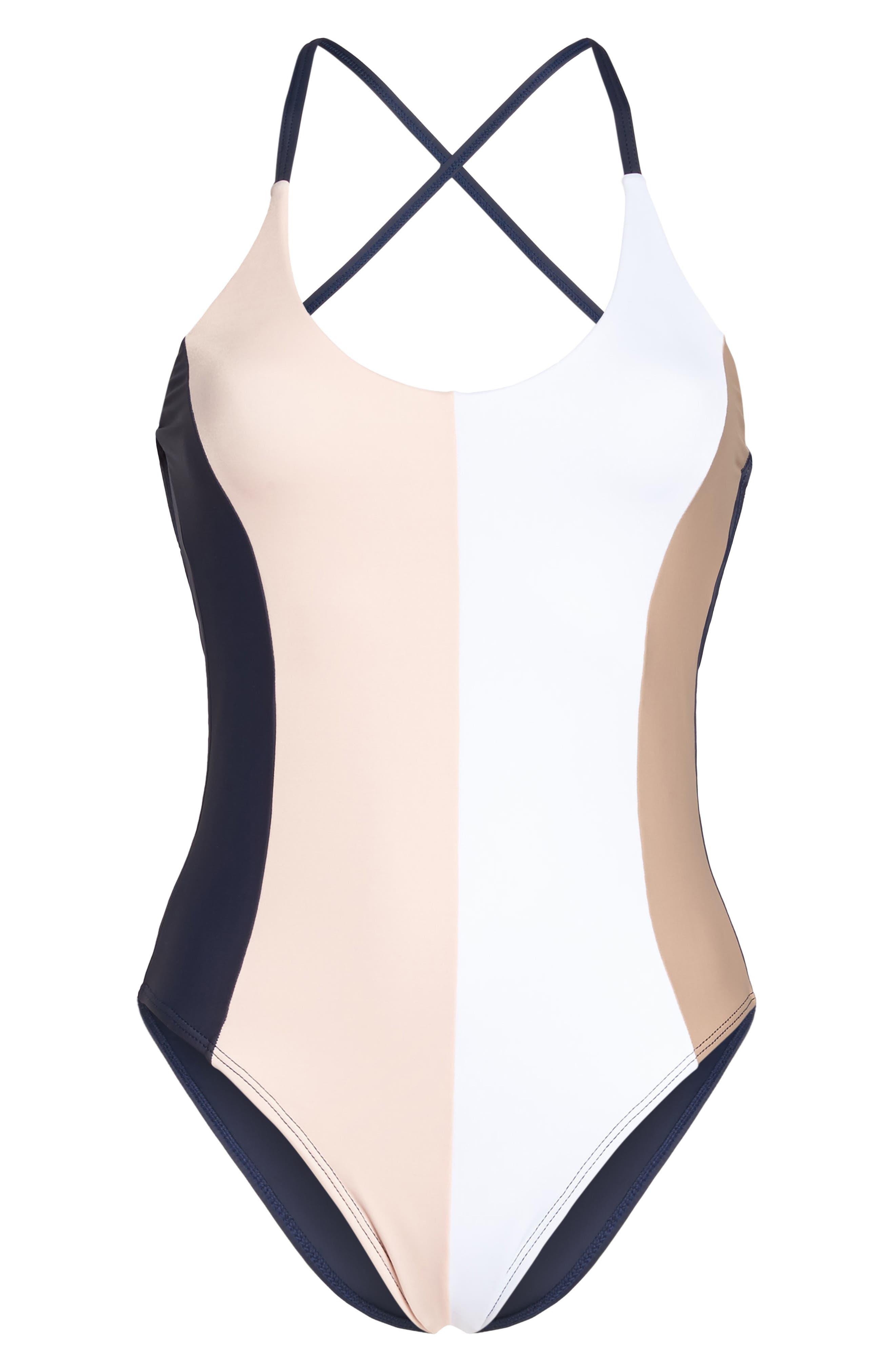 Alternate Image 6  - PilyQ Farrah Colorblock One-Piece Swimsuit