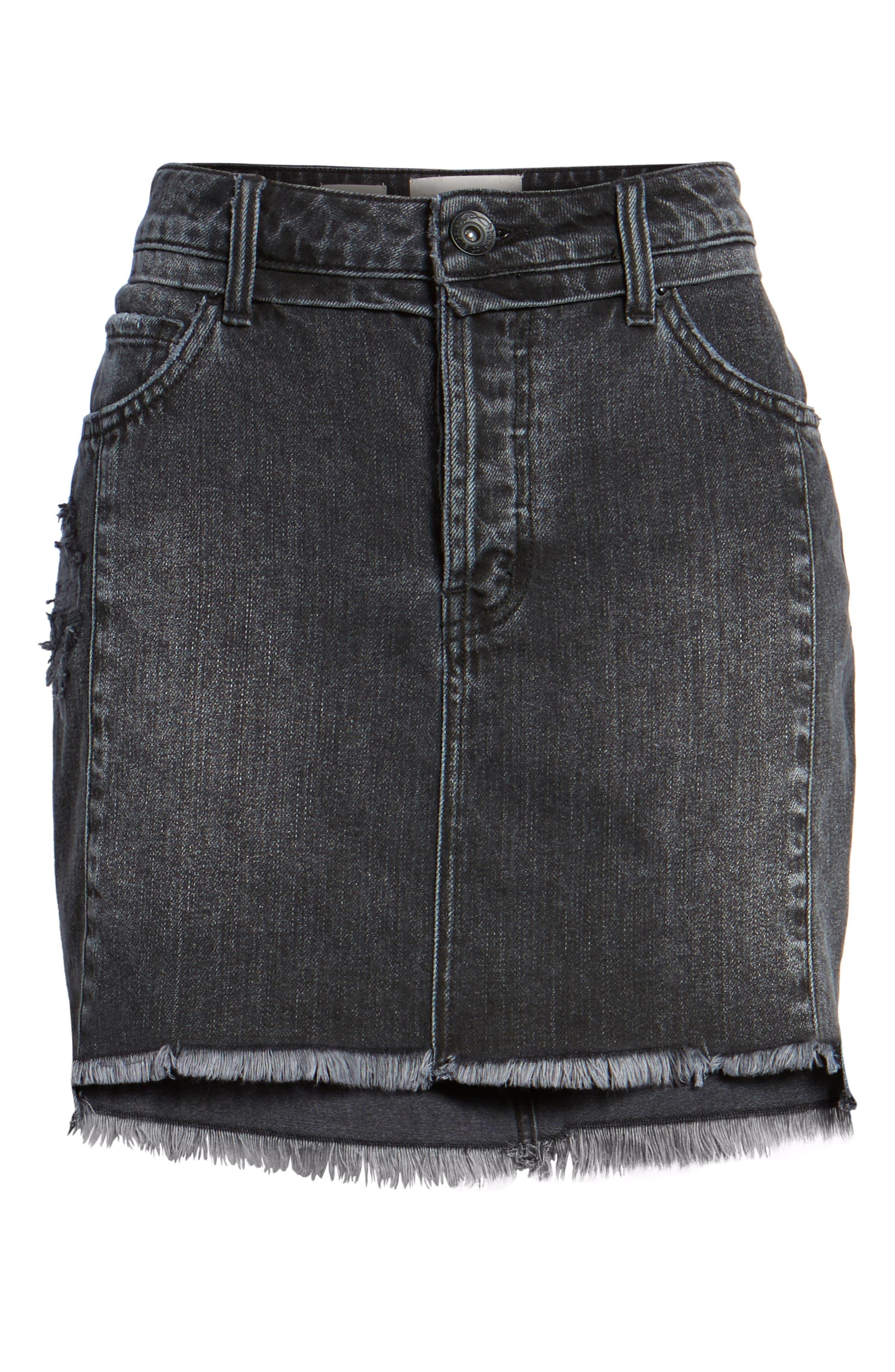 Eve Step Hem Denim Miniskirt,                             Alternate thumbnail 6, color,                             Beat Fest Black