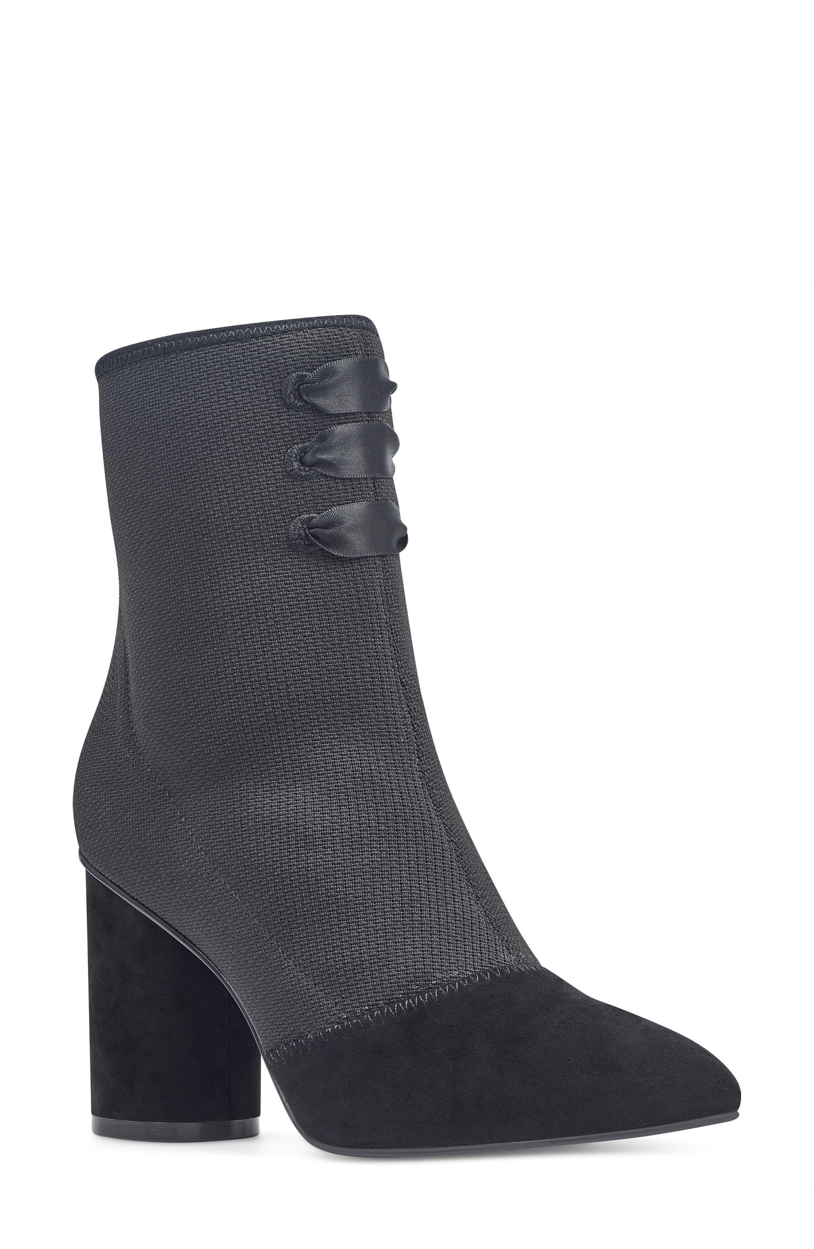Carolina Pointy Toe Bootie,                             Main thumbnail 1, color,                             Black Multi Fabric