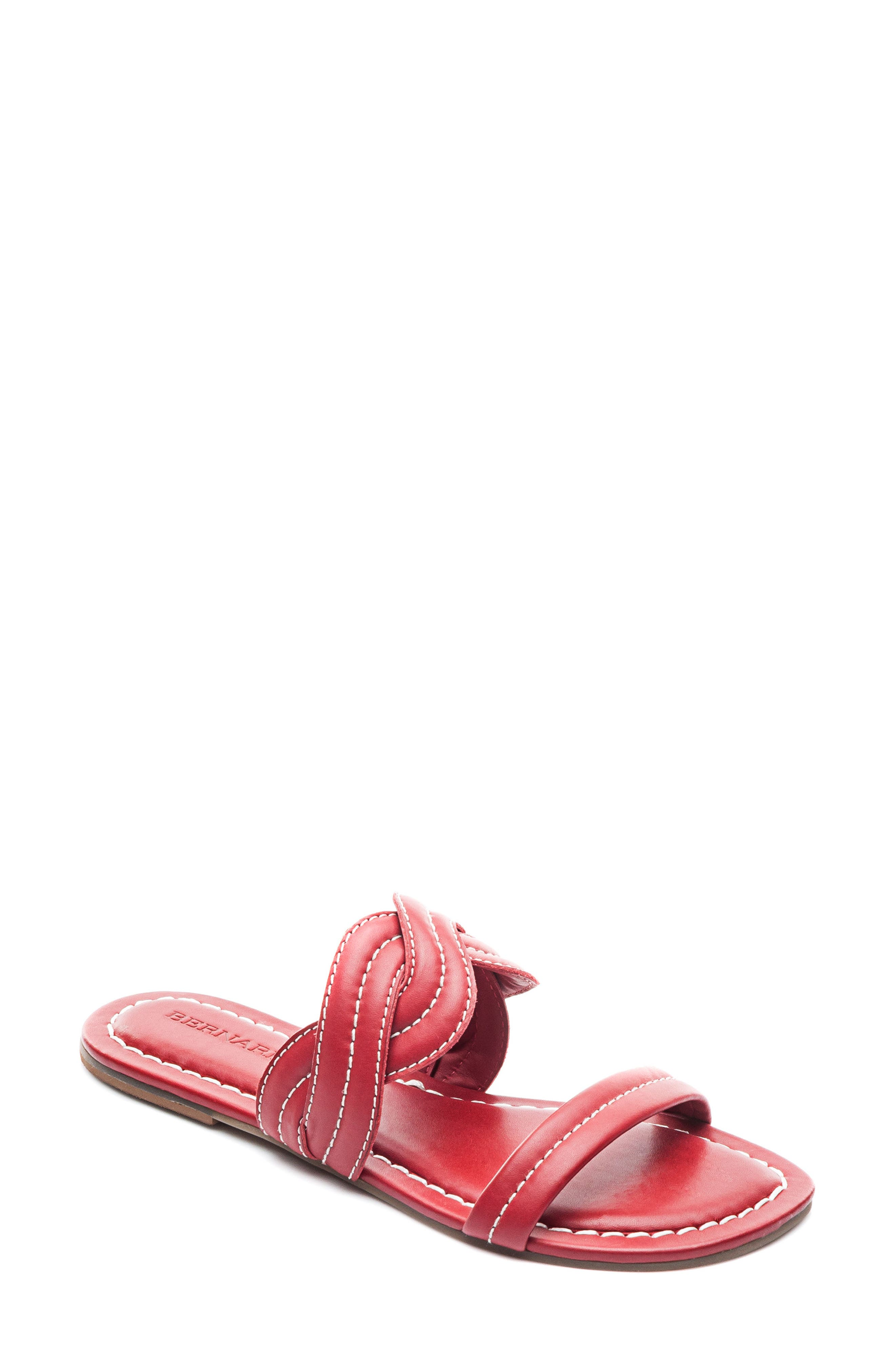 Bernardo Mirian Slide Sandal,                             Main thumbnail 1, color,                             Red Leather