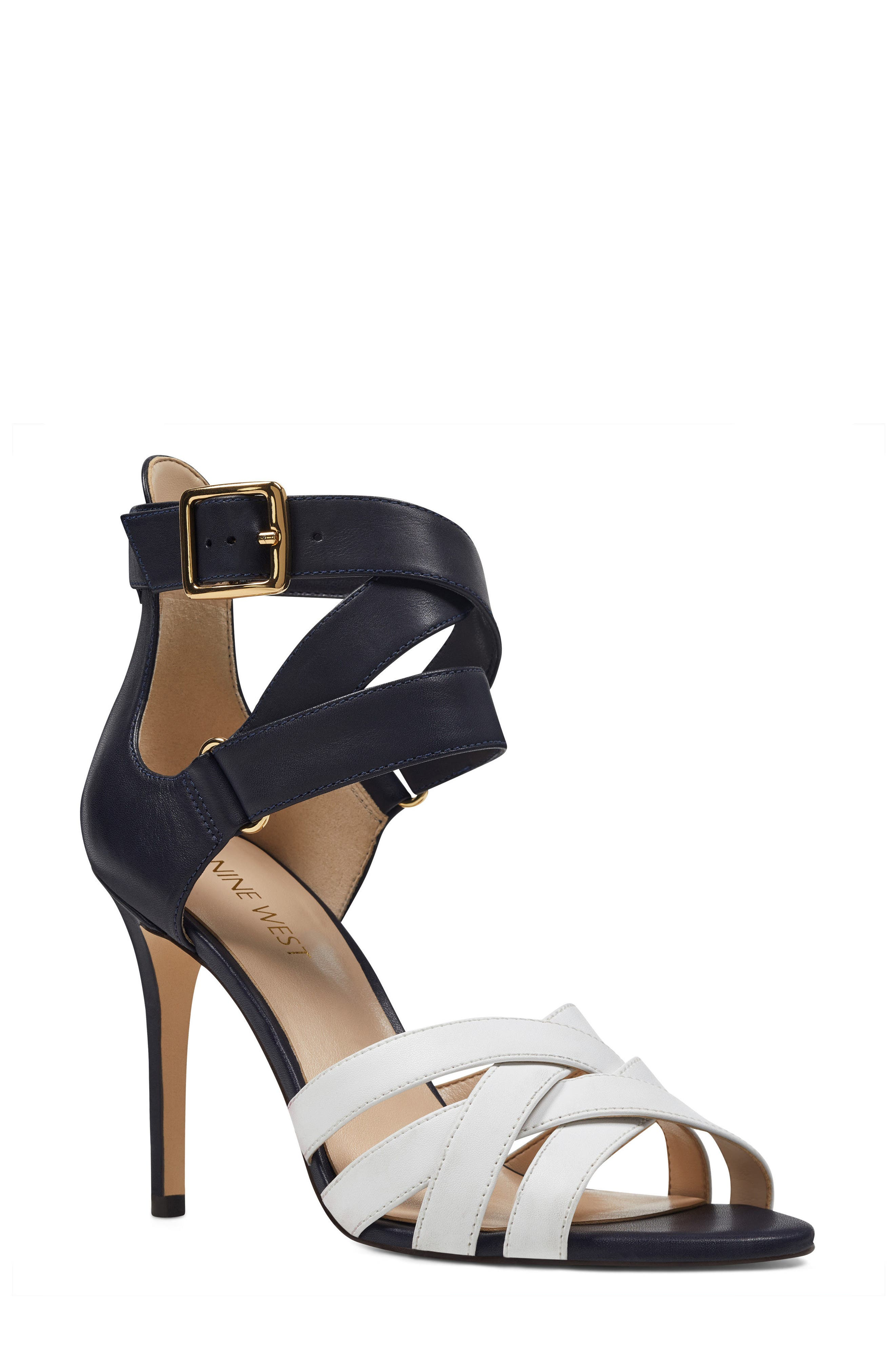 McGlynn Strappy Sandal,                             Main thumbnail 1, color,                             Navy/ White Leather