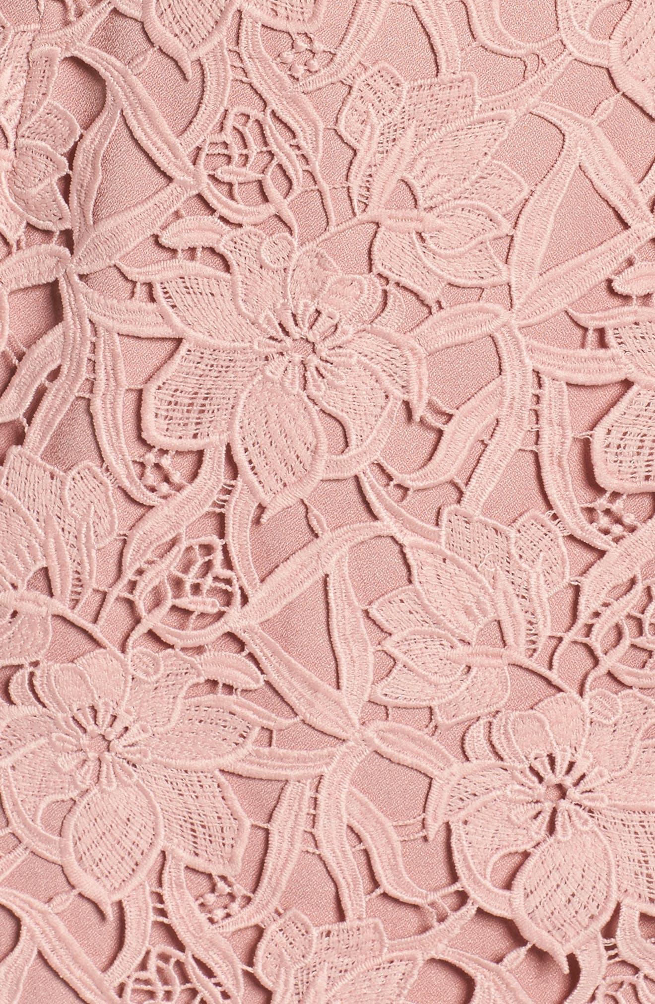 Lace Sheath Dress,                             Alternate thumbnail 5, color,                             Pink