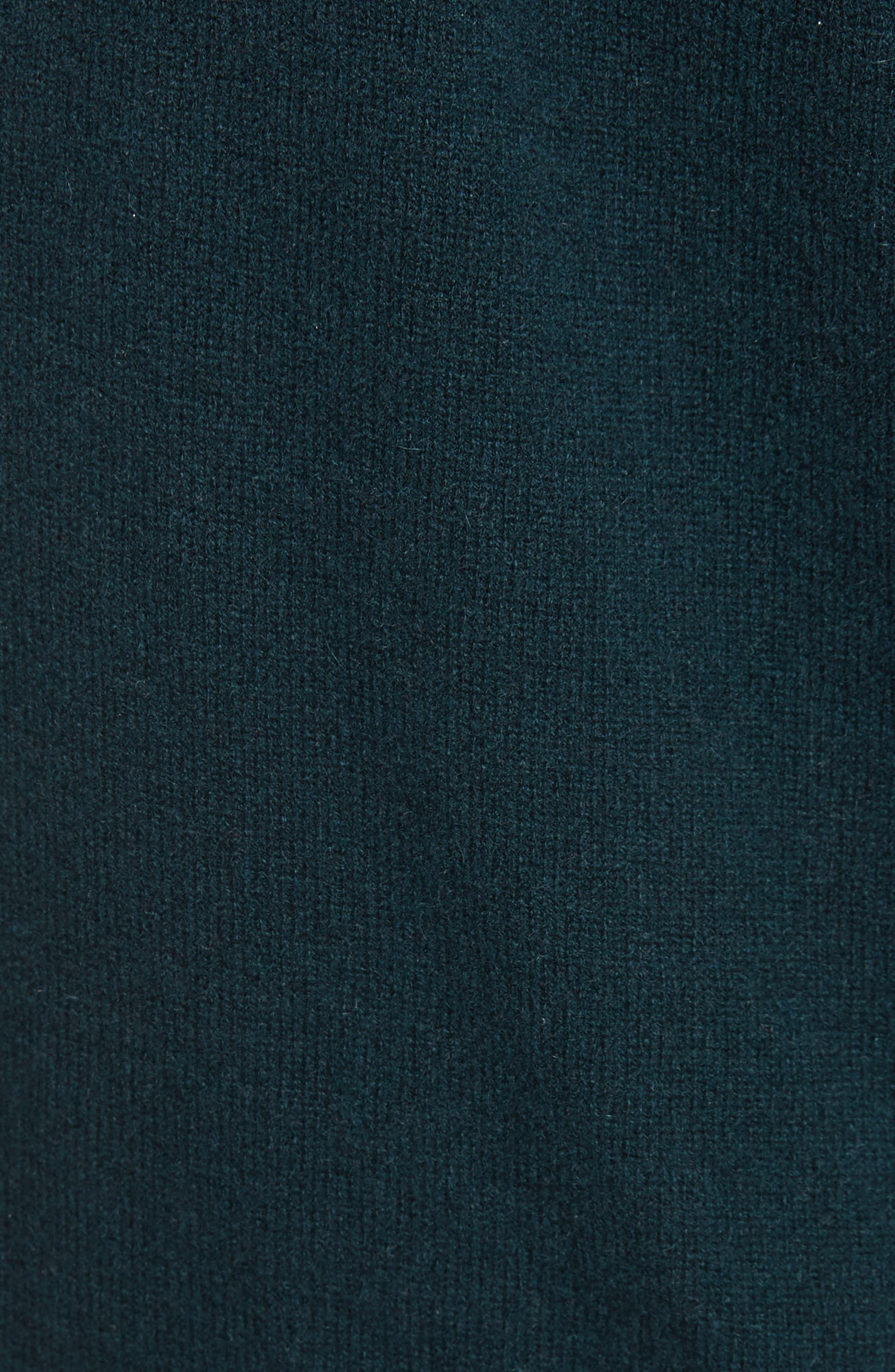 Velvet Tie Cashmere Sweater,                             Alternate thumbnail 5, color,                             Juniper