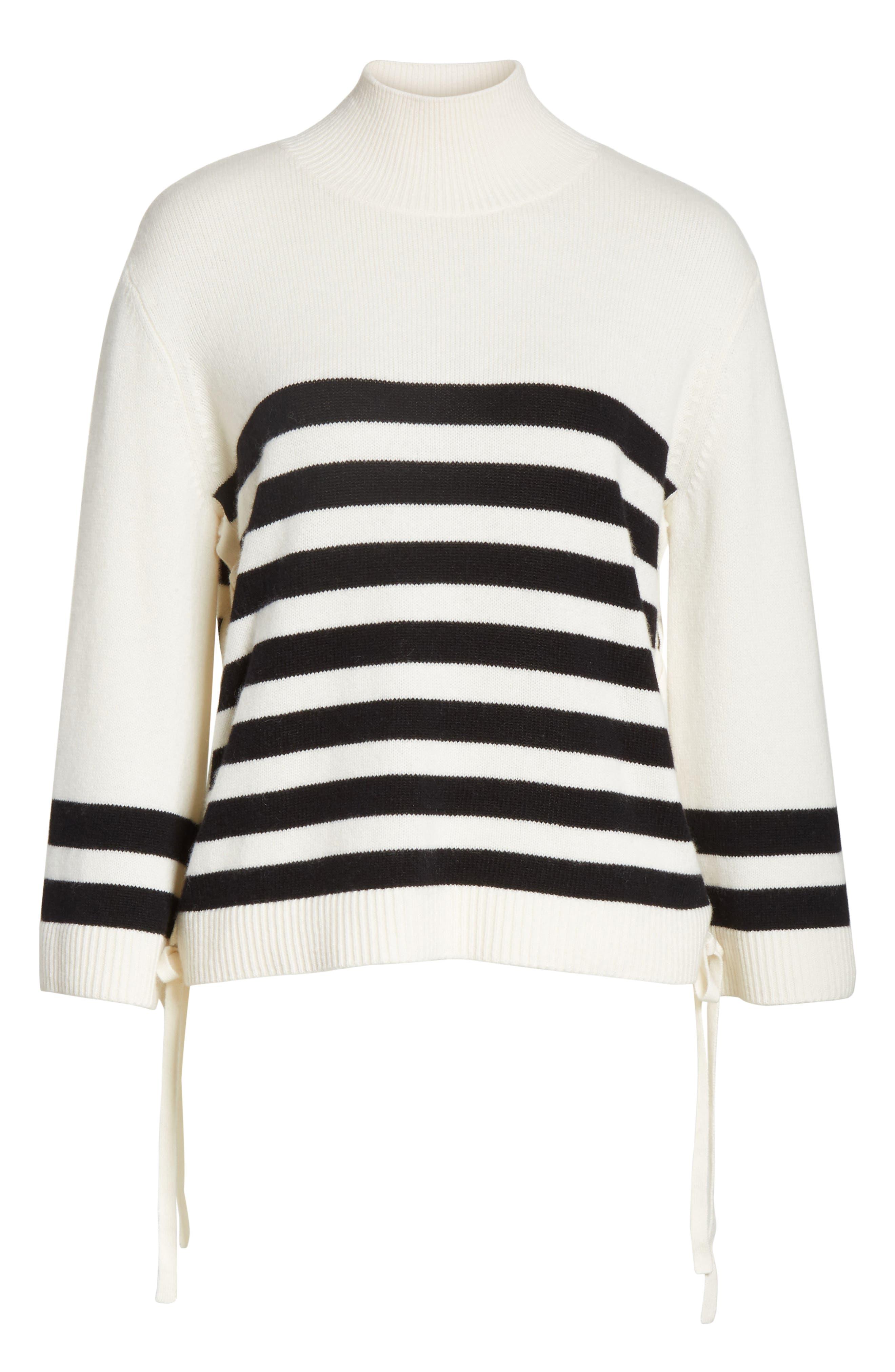 Lantz Mariner Sweater,                             Alternate thumbnail 6, color,                             Porcelain/ Caviar