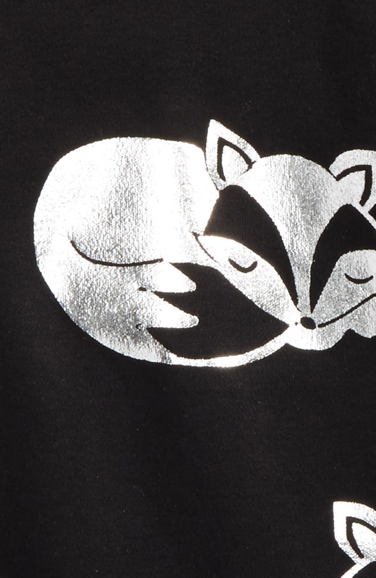 Alternate Image 2  - Masala Baby Sleeping Foxes Fitted Two-Piece Pajamas (Toddler Girls, Little Girls & Big Girls)